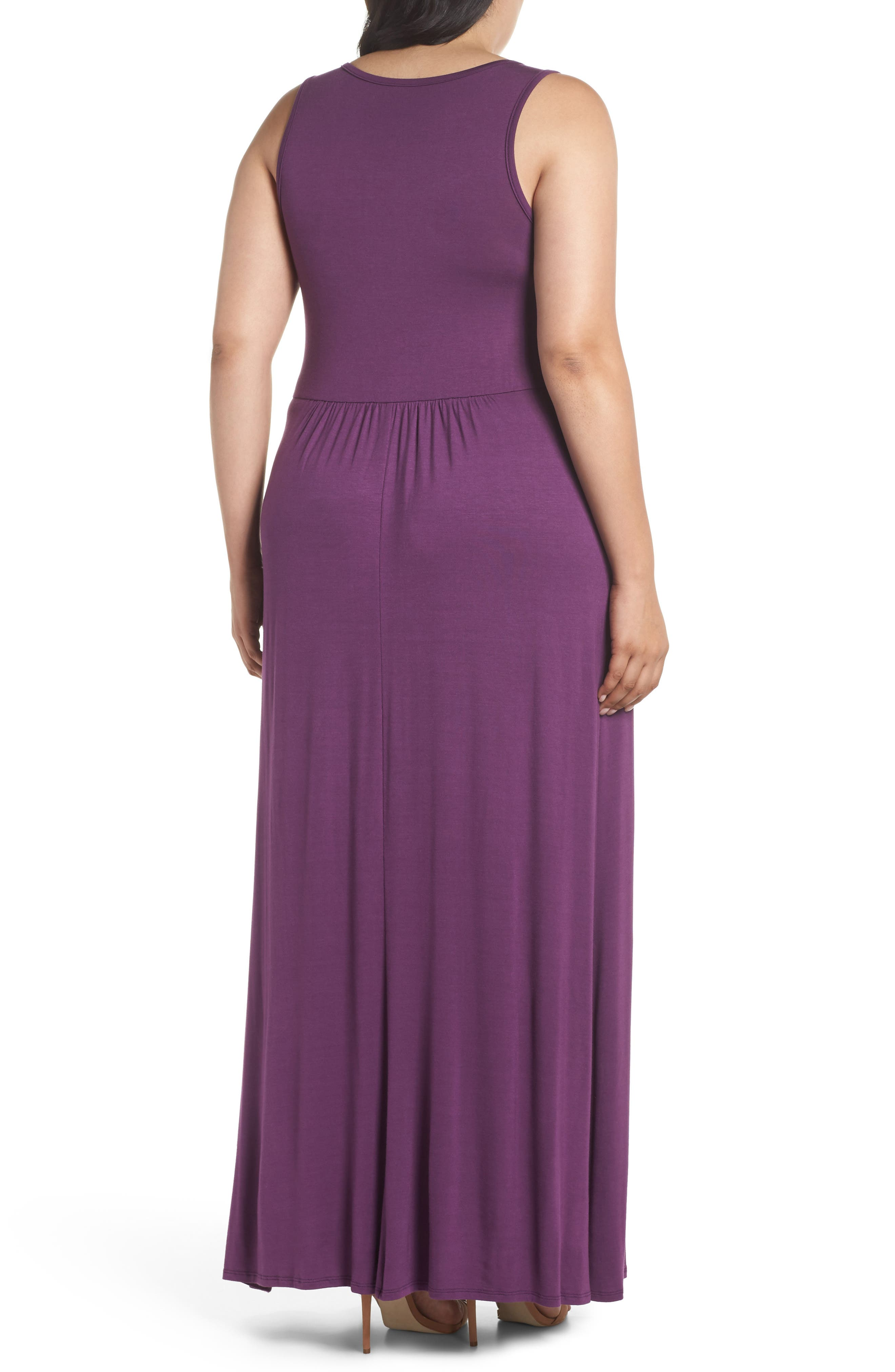 Surplice Maxi Dress,                             Alternate thumbnail 2, color,                             Purple Dark