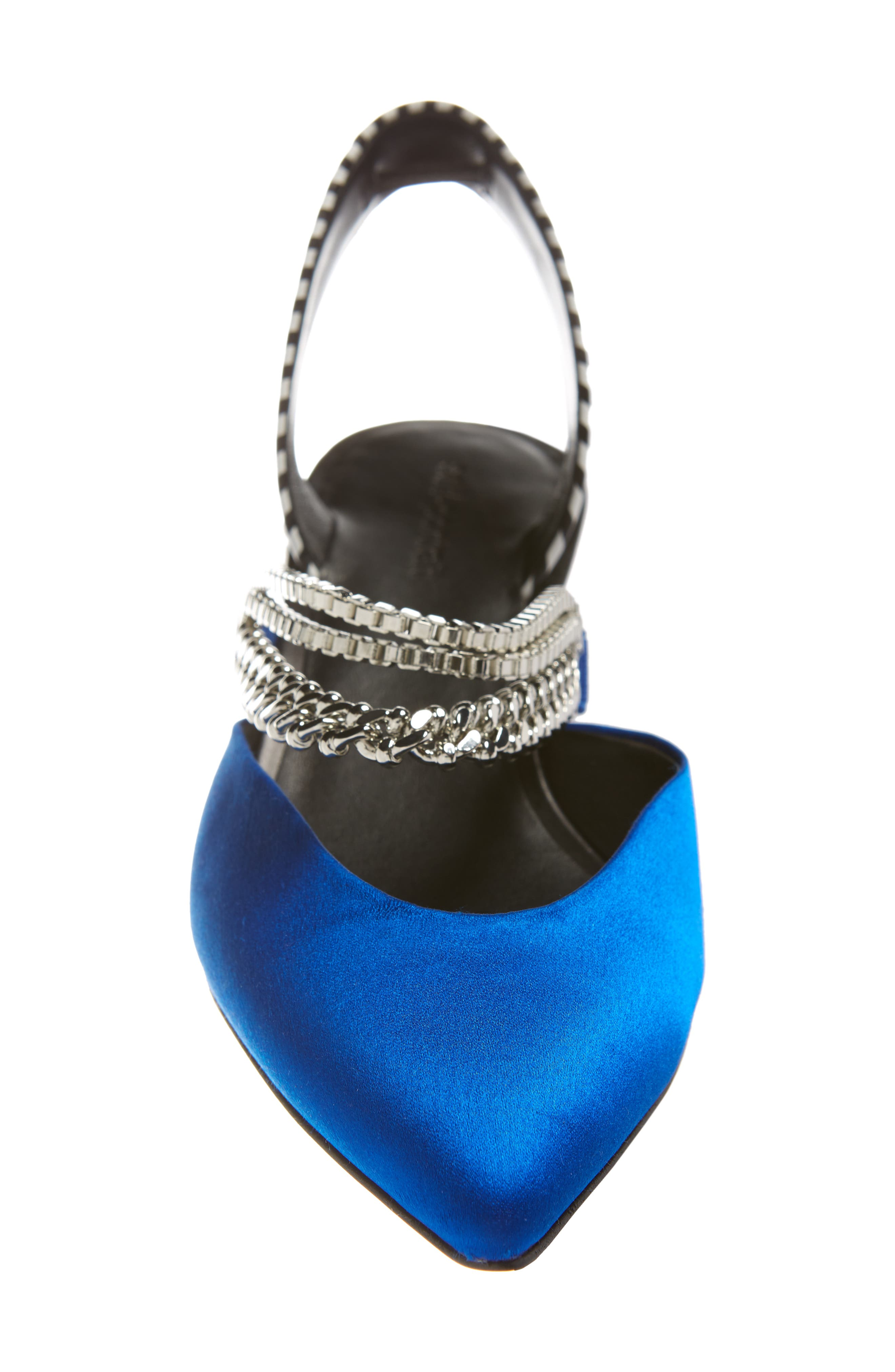 Kitty Chain Embellished Slingback Pump,                             Alternate thumbnail 4, color,                             Bright Blue