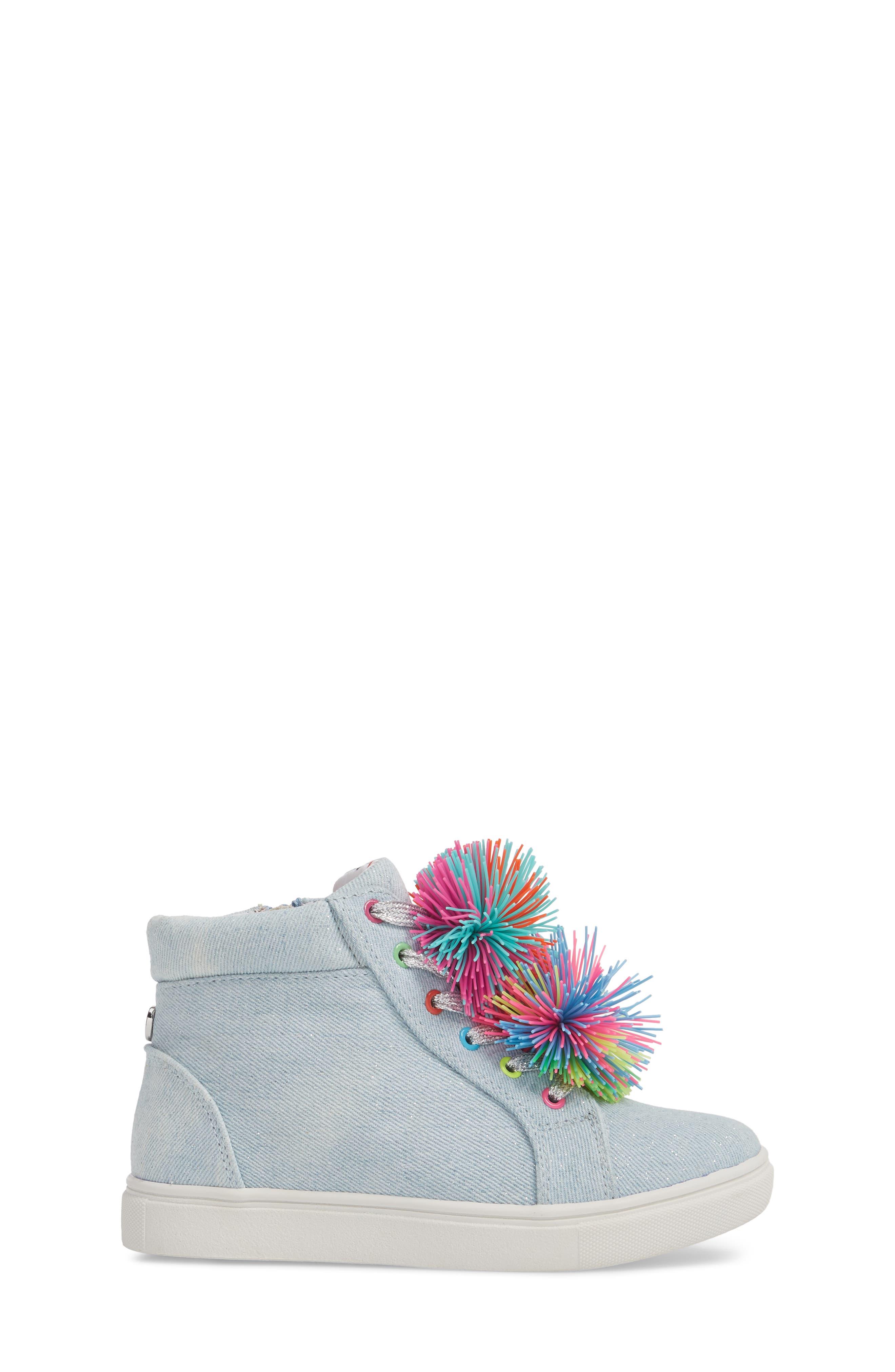 JBrendie Pompom High Top Sneaker,                             Alternate thumbnail 3, color,                             Denim
