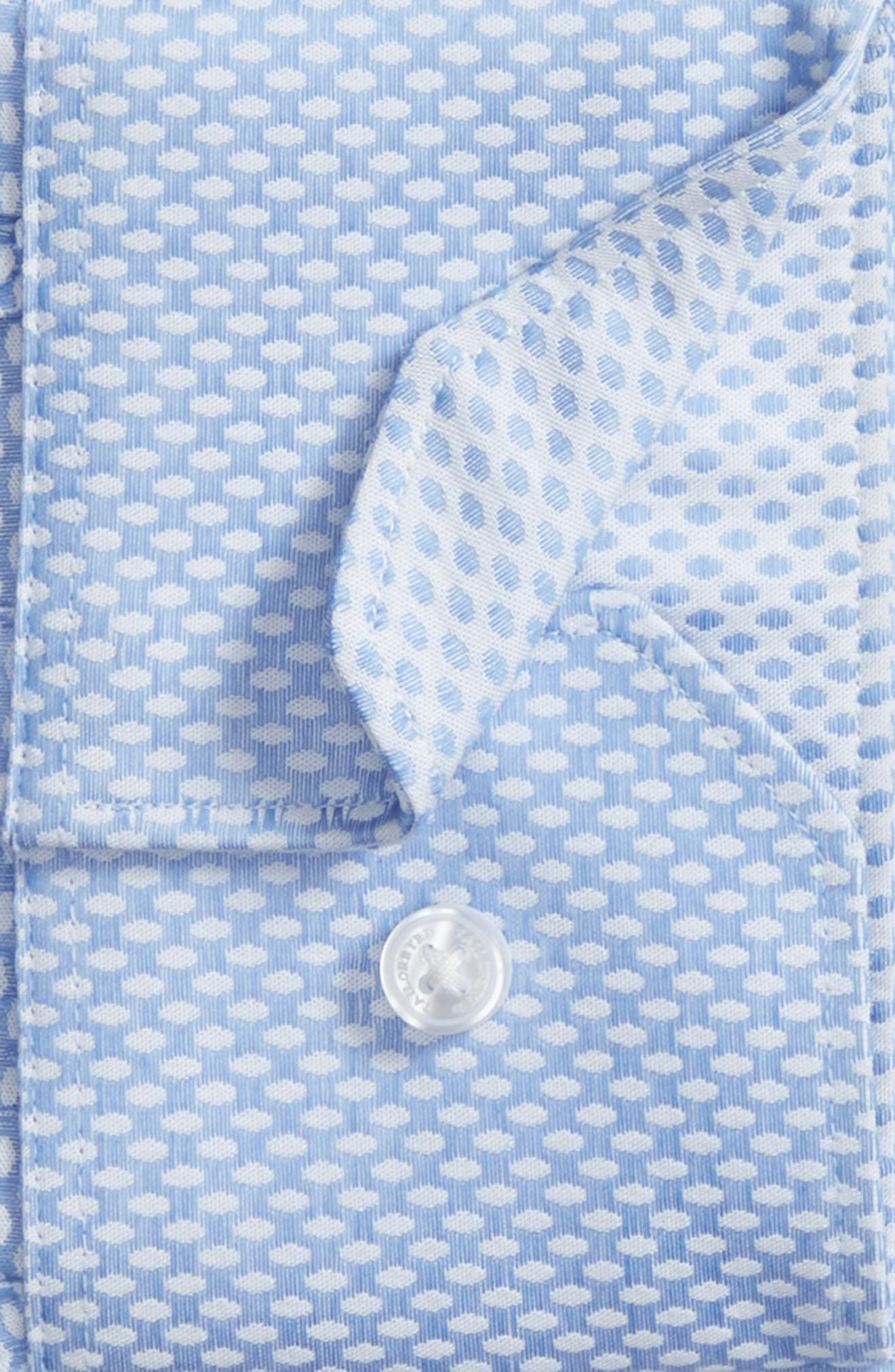 Holmes Trim Fit Dot Dress Shirt,                             Alternate thumbnail 5, color,                             Light Blue