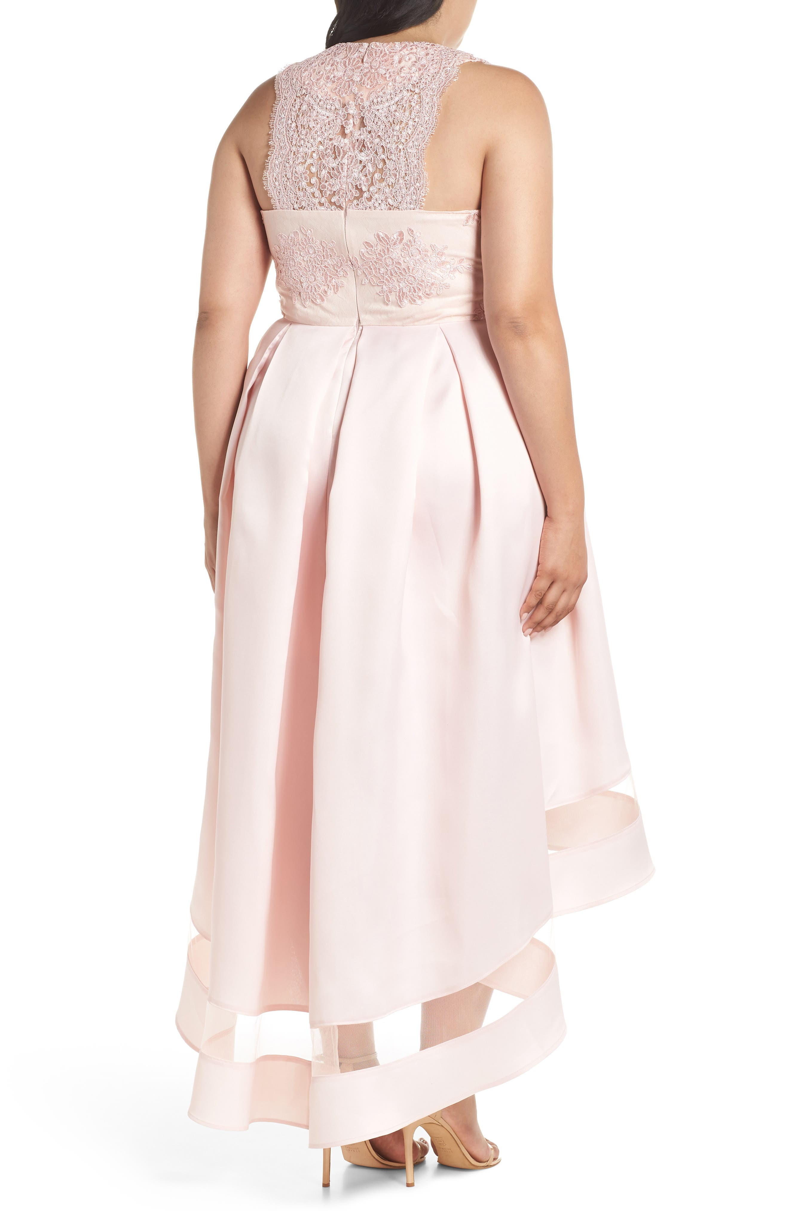 Alternate Image 2  - Marina Lace & Pleated High/Low Gown (Plus Size)
