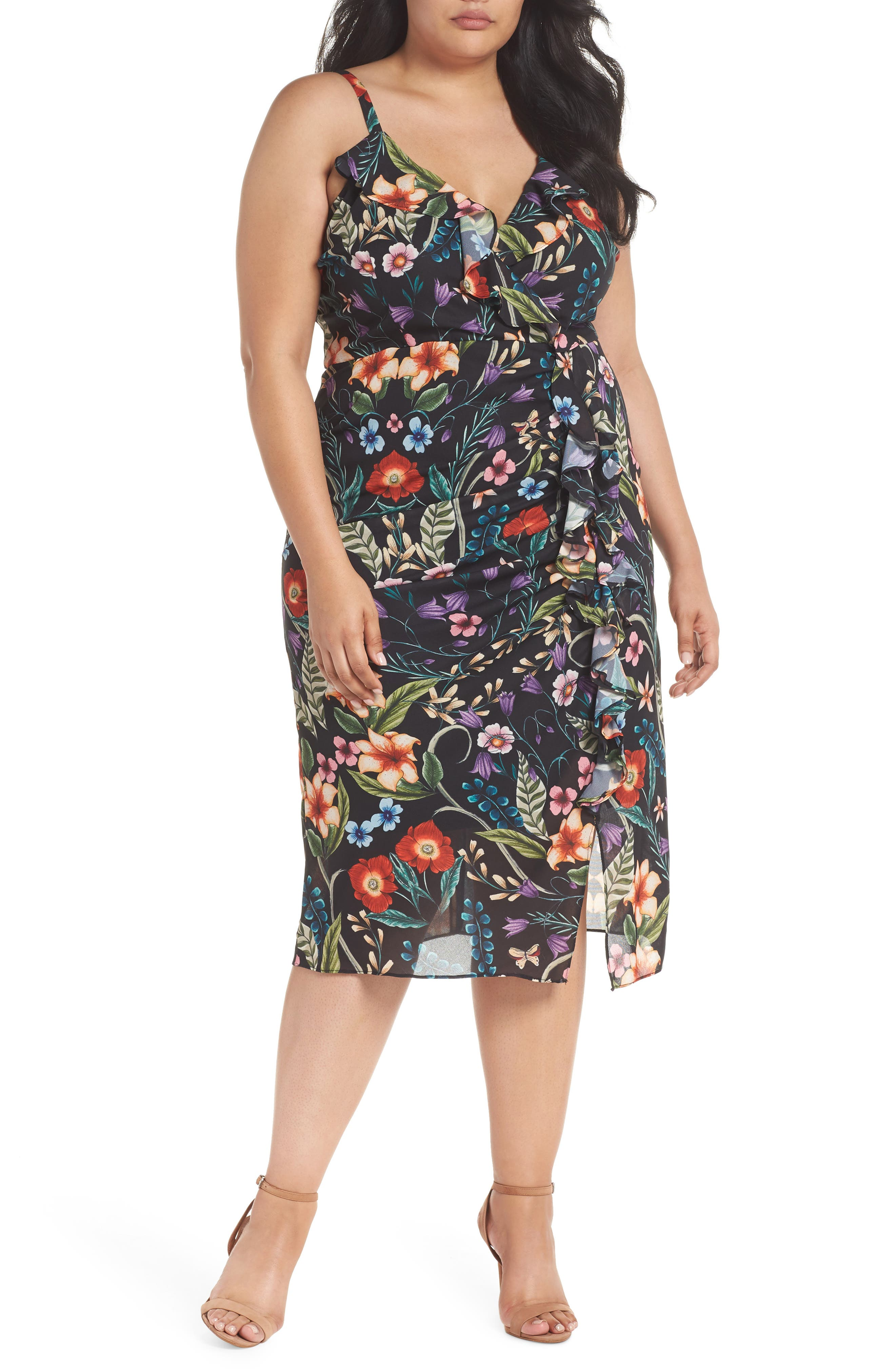 Alternate Image 1 Selected - Cooper St Gardenia Ruffle Slipdress (Plus Size)