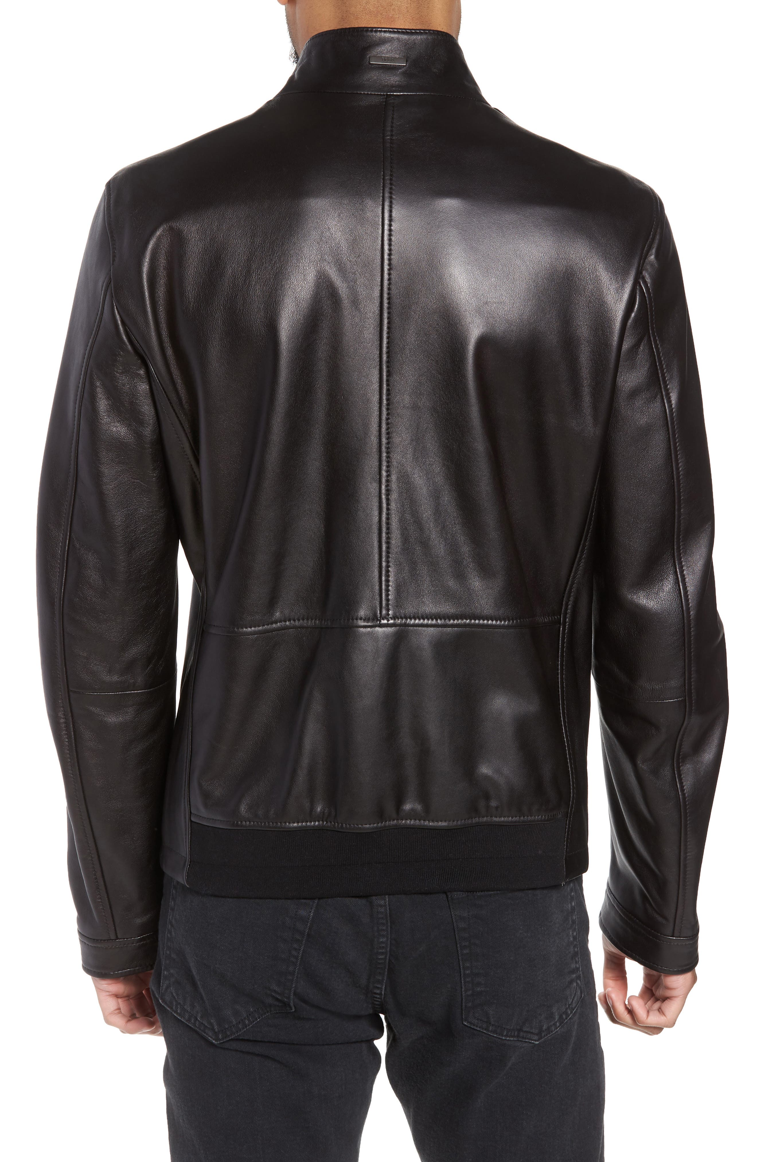 Nerous Leather jacket,                             Alternate thumbnail 2, color,                             Black
