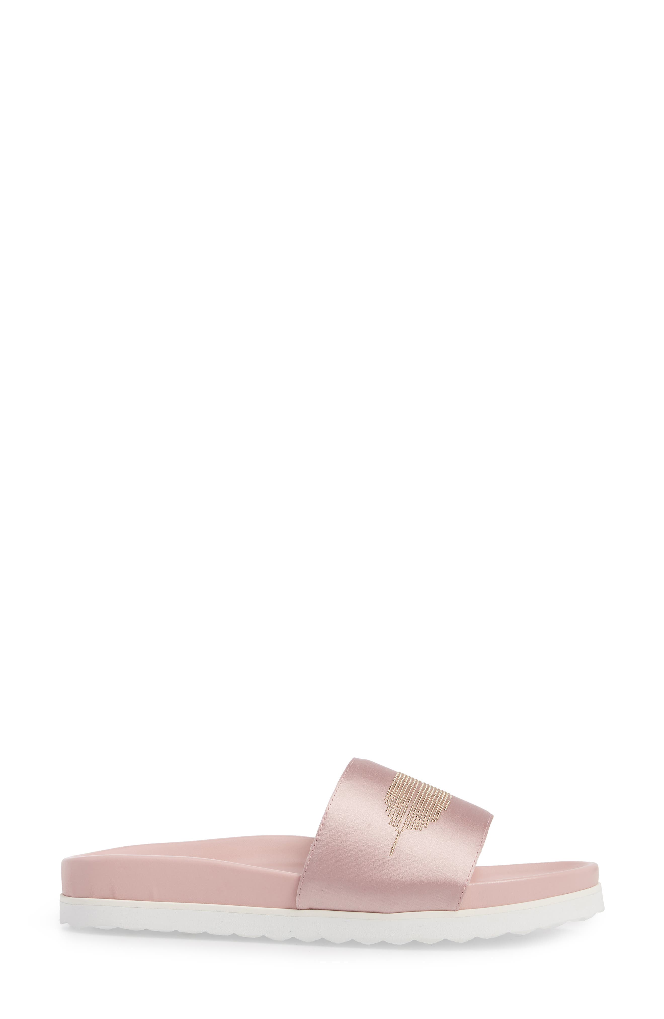 Satin Slide Sandal,                             Alternate thumbnail 3, color,                             Pink