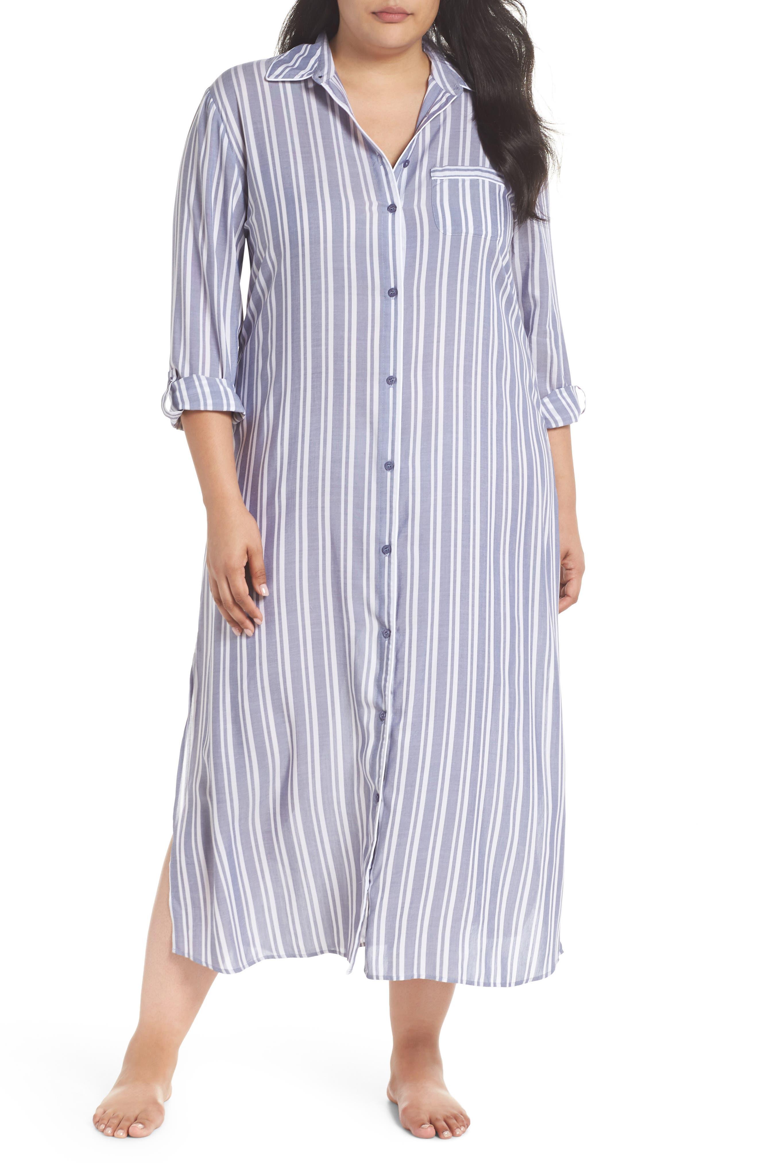 Woven Caftan,                         Main,                         color, Blue Indigo Preppy Stripe