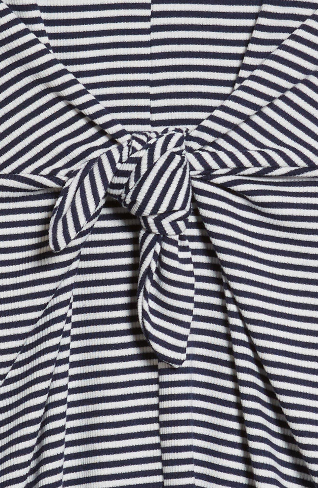 Tie Front Skater Dress,                             Alternate thumbnail 3, color,                             Navy/ White