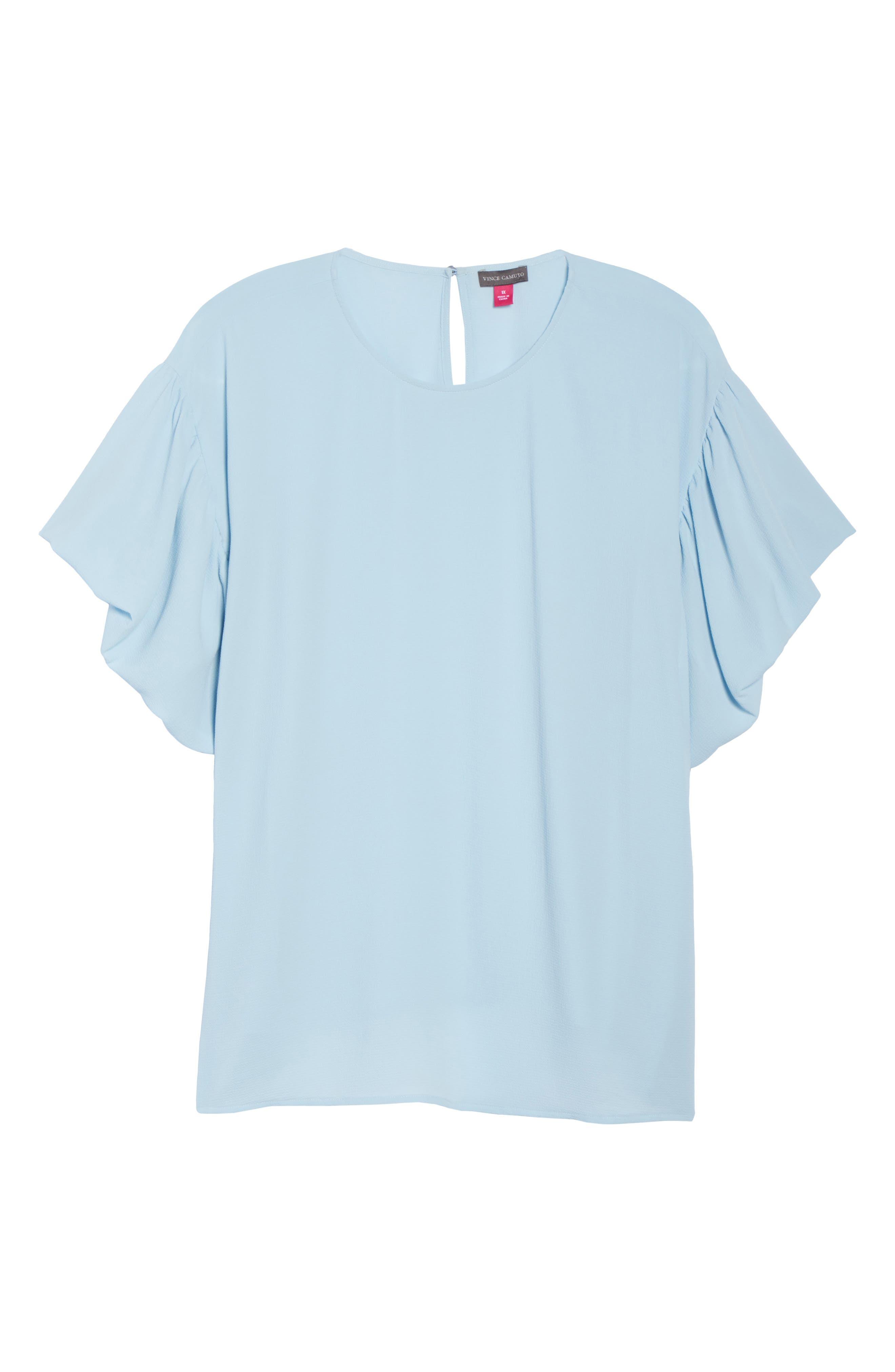 Bubble Sleeve Blouse,                             Alternate thumbnail 7, color,                             Dew Blue