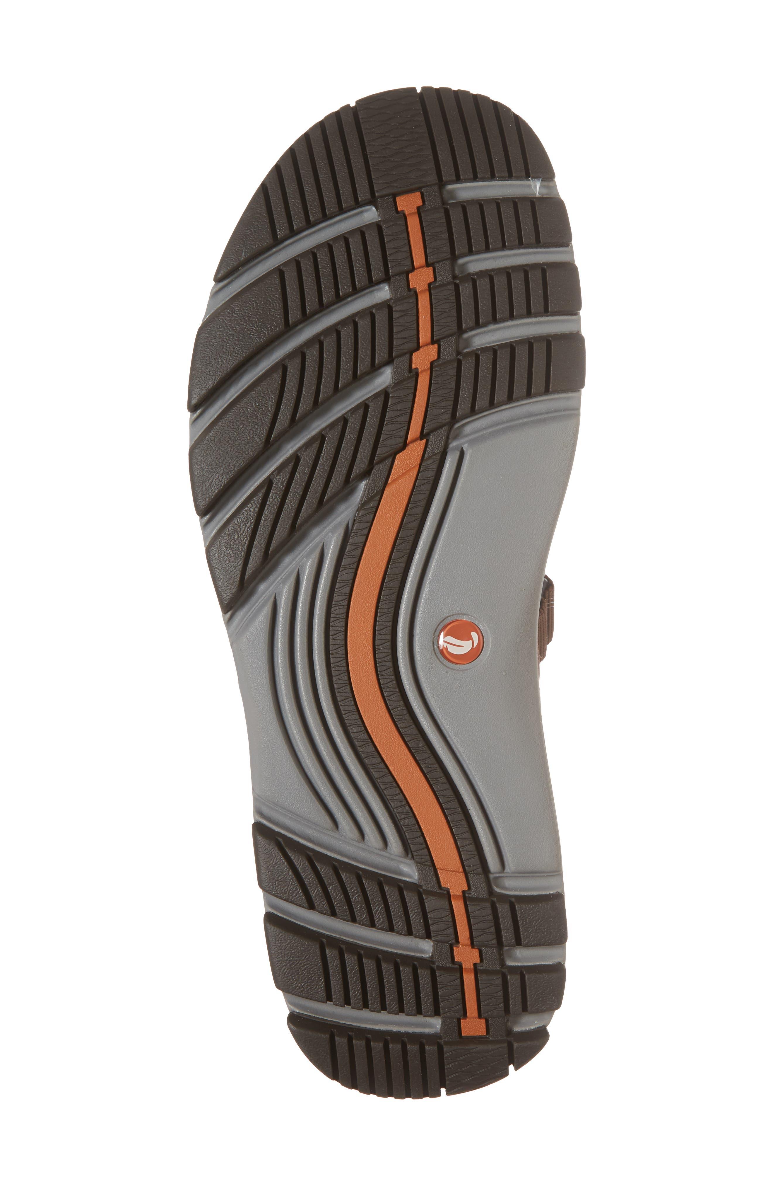 Clarks<sup>®</sup> Untrek Cove Fisherman Sandal,                             Alternate thumbnail 6, color,                             Dark Tan Leather