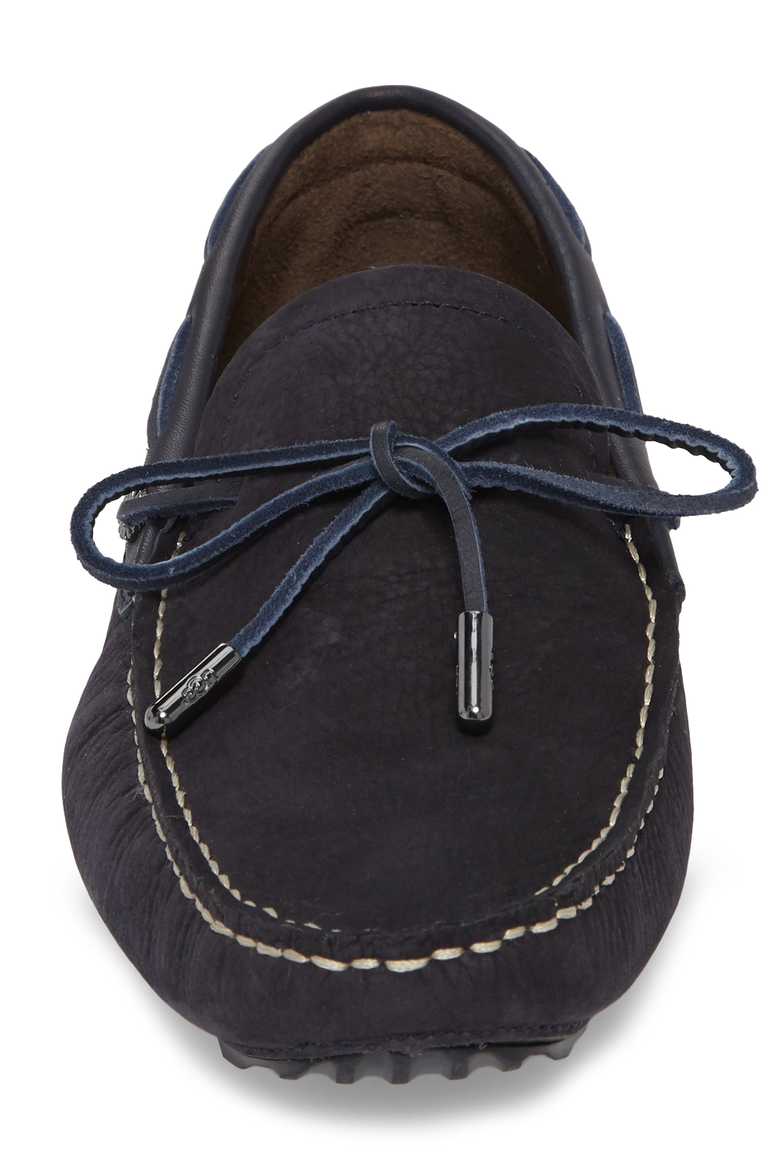 Bel Air Driving Moccasin,                             Alternate thumbnail 4, color,                             Navy Leather
