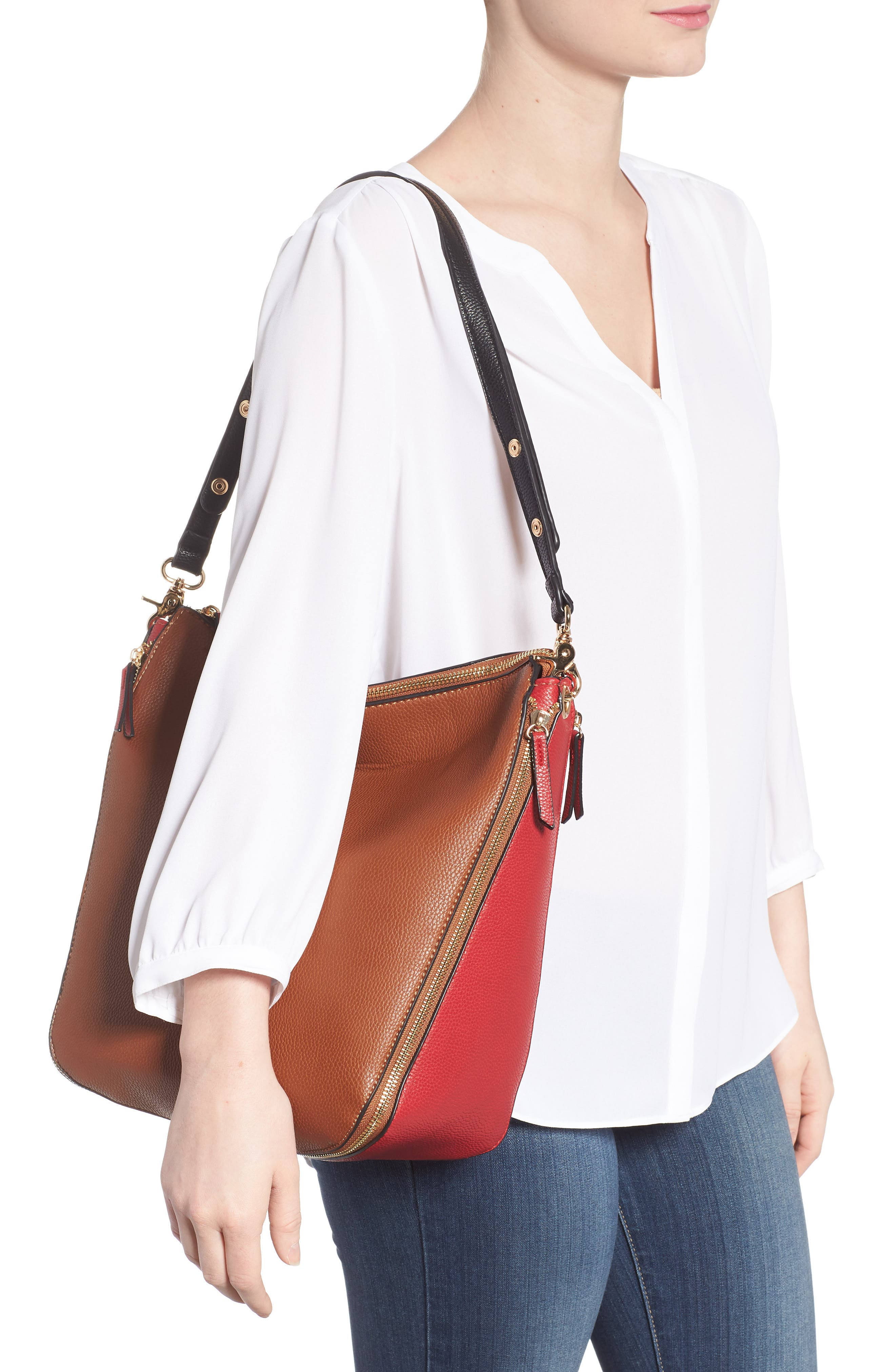 Colorblock Faux Leather Hobo,                             Alternate thumbnail 2, color,                             Cognac/ Red