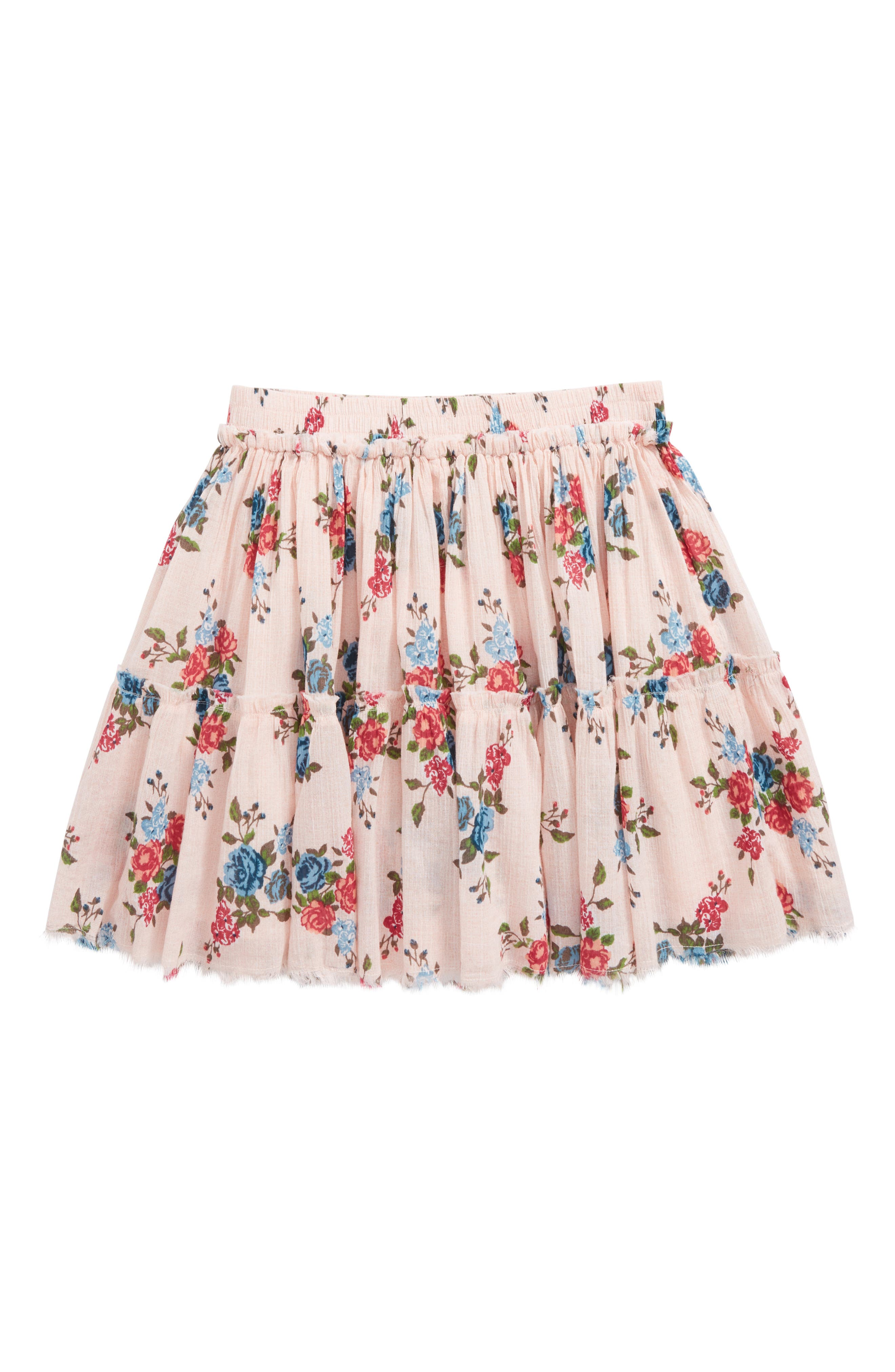 Floral Frayed Ruffle Hem Skirt,                             Main thumbnail 1, color,                             Pink Peach Bunch Floral