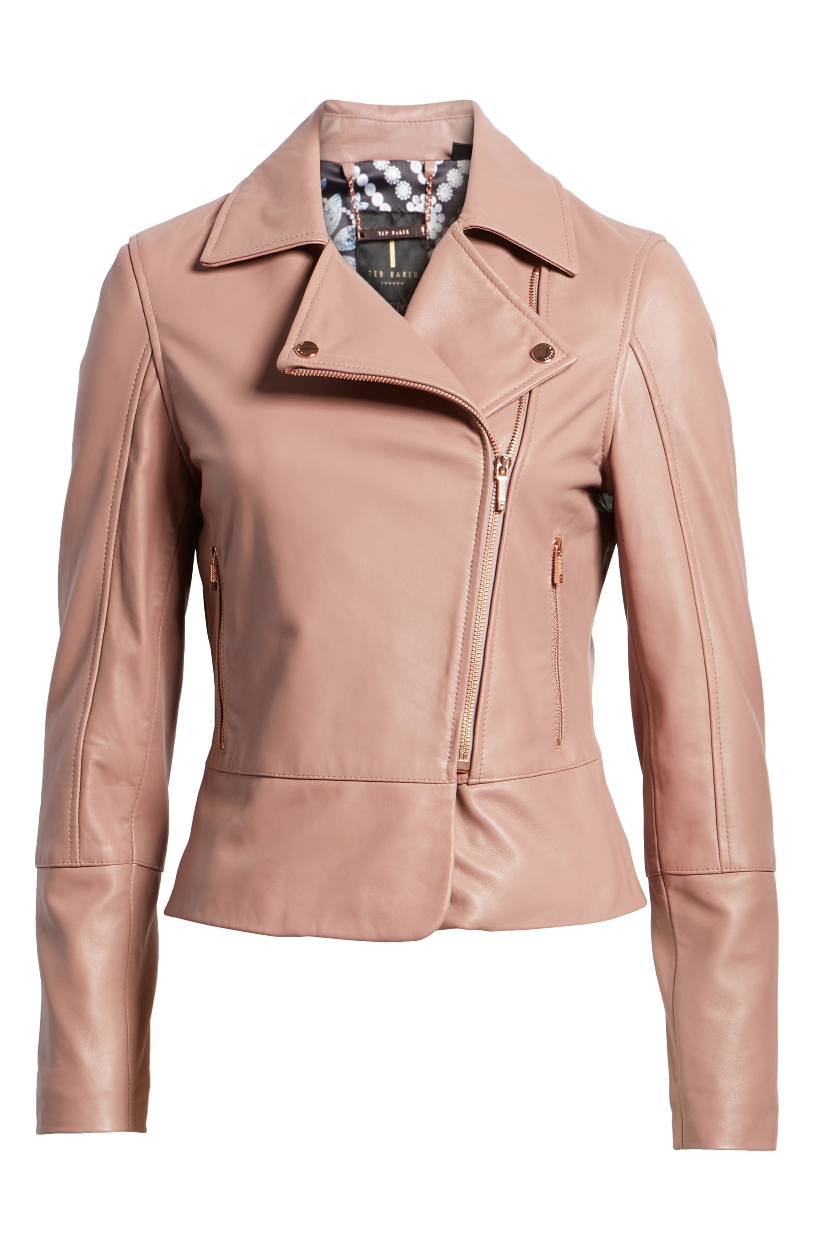 Lizia Leather Biker Jacket,                             Alternate thumbnail 7, color,                             Dusky Pink