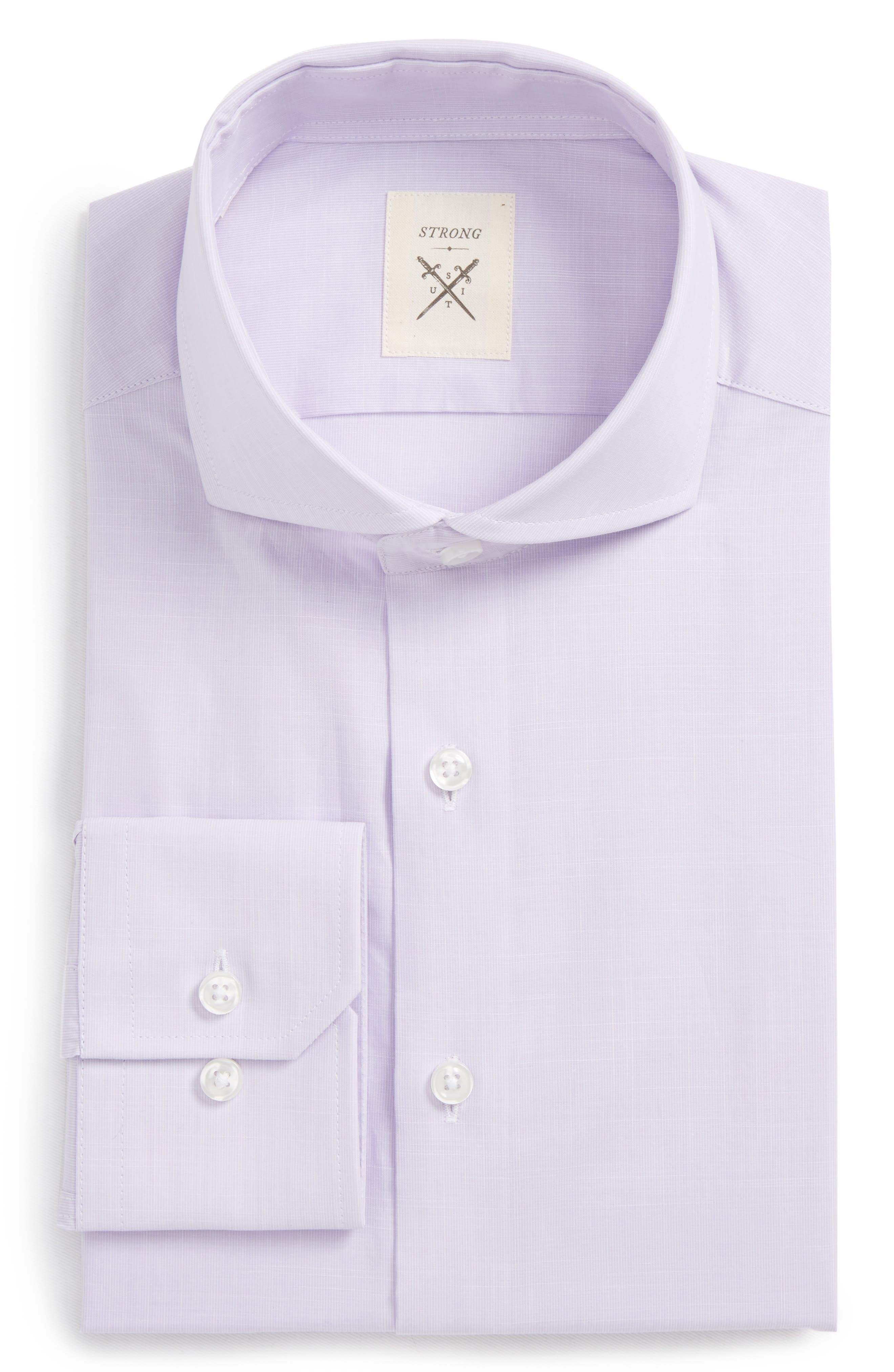 Espirit Trim Fit Solid Dress Shirt,                             Main thumbnail 1, color,                             Lavender Solid