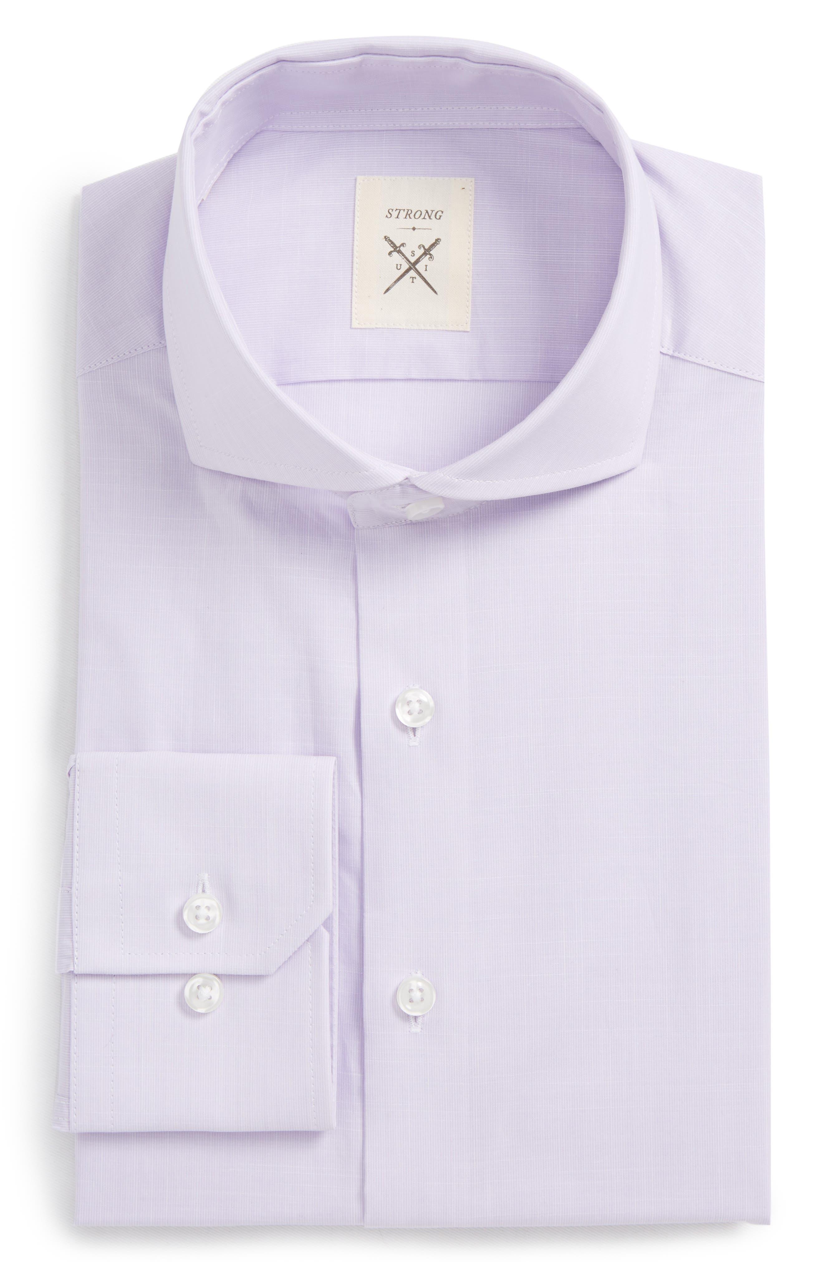 Espirit Trim Fit Solid Dress Shirt,                         Main,                         color, Lavender Solid