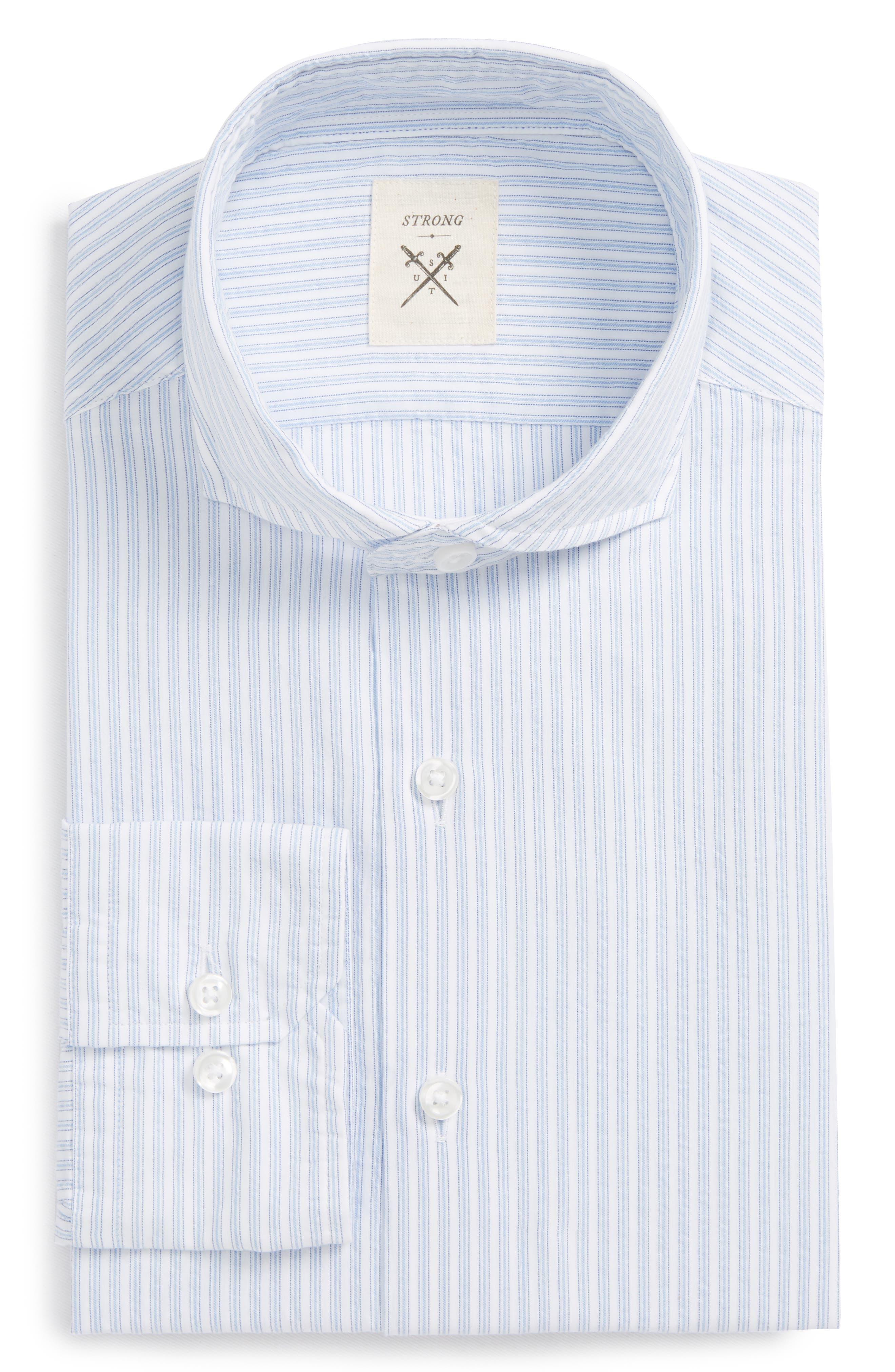 Strong Suit Trim Fit Stripe Dress Shirt