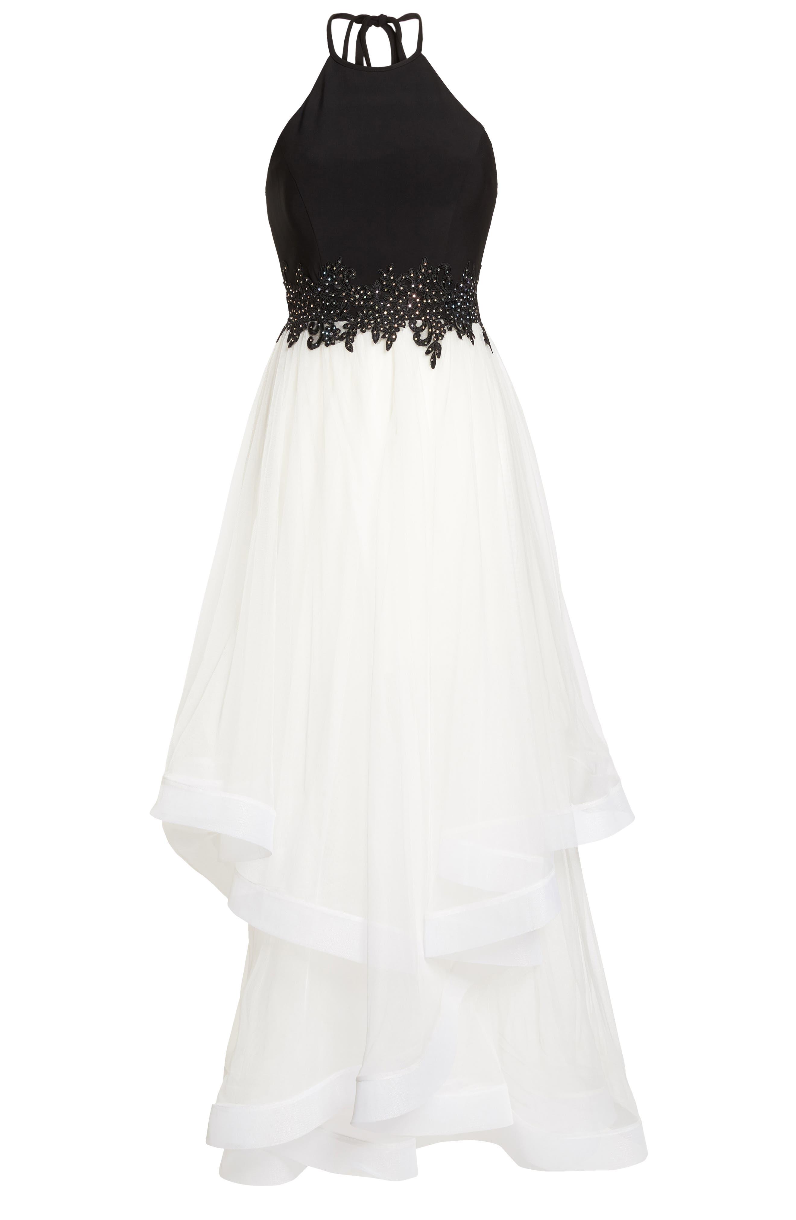 Appliqué Tiered Gown,                             Alternate thumbnail 6, color,                             Black/ Ivory