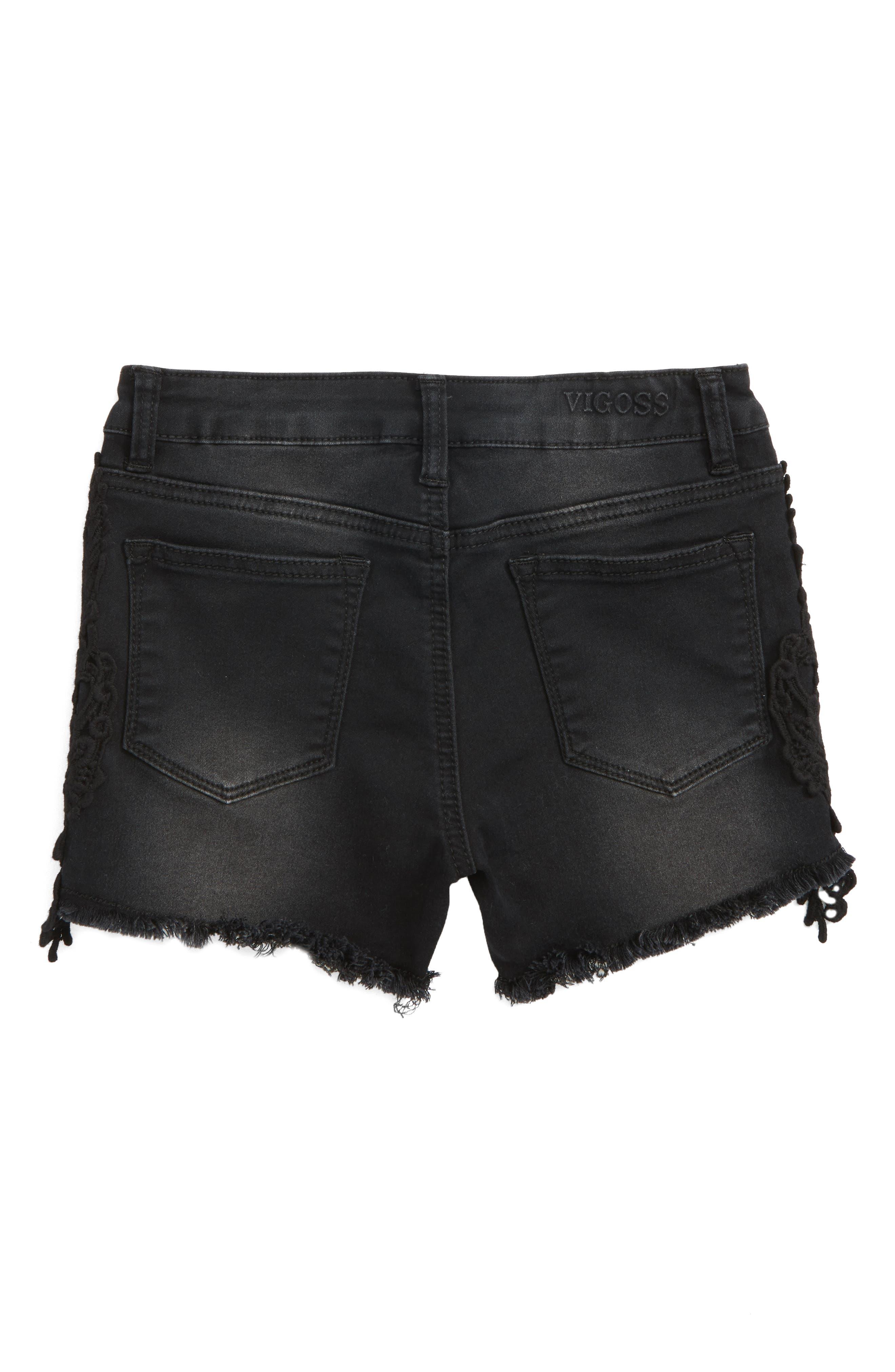 Lace Trim Frayed Denim Shorts,                             Alternate thumbnail 2, color,                             Jet