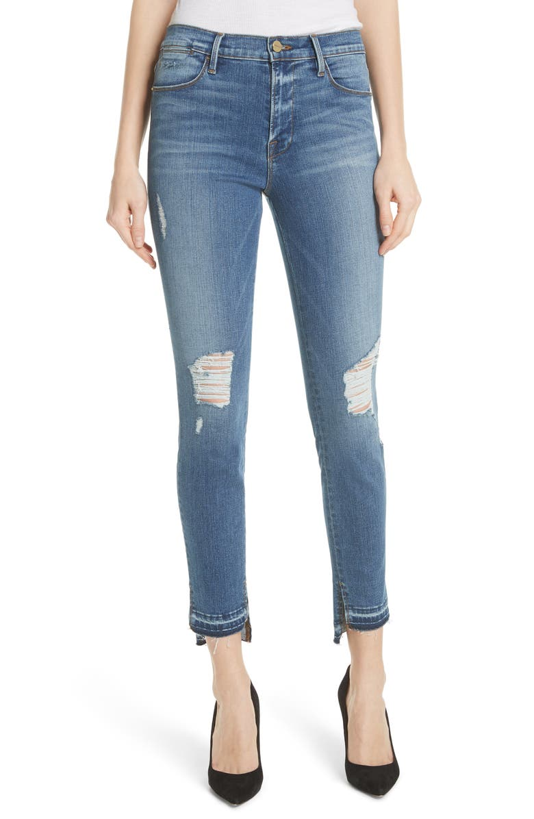 Le High Ripped Released Hem Skinny Jeans