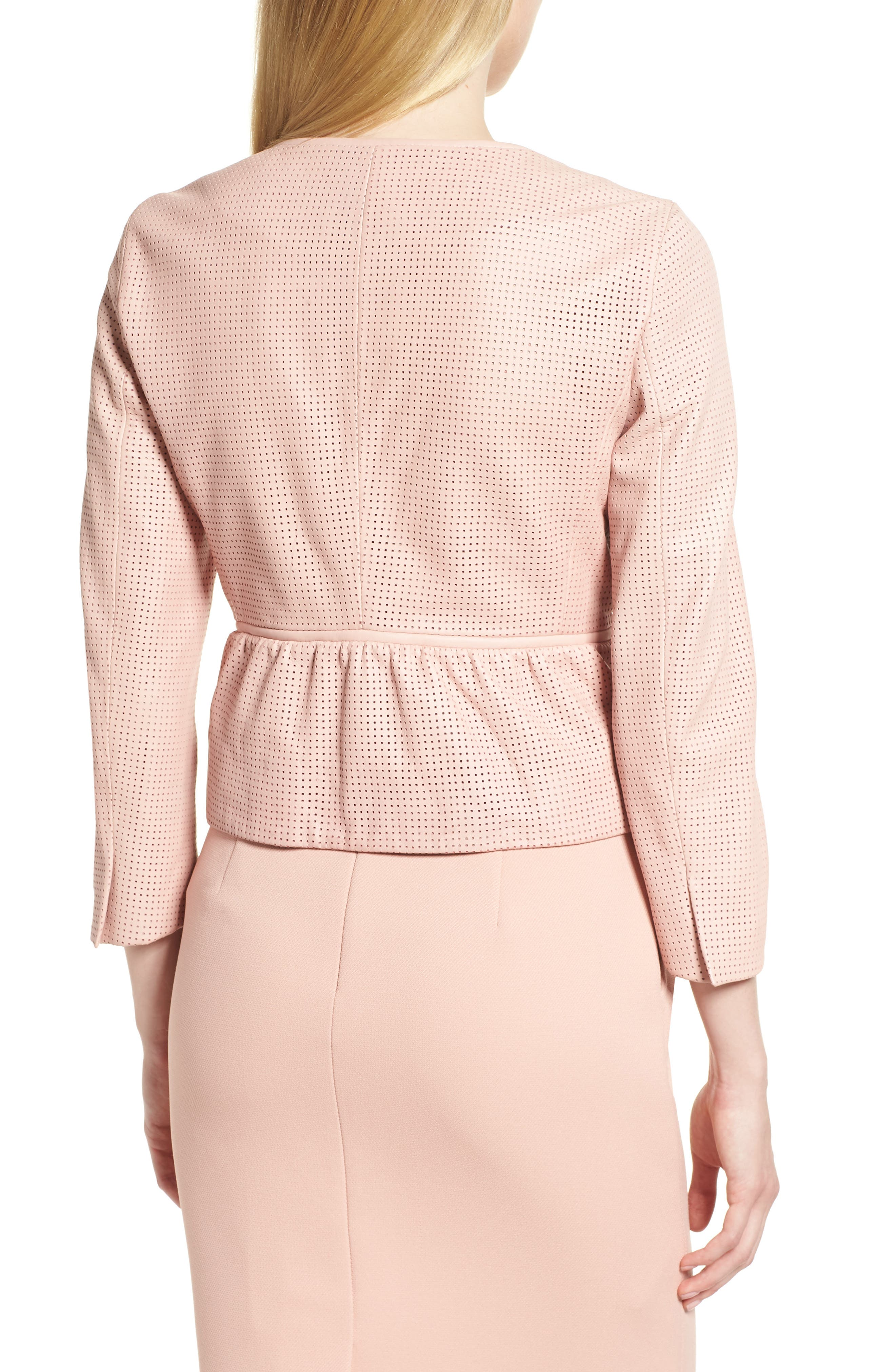 Sallotina Perforated Leather Jacket,                             Alternate thumbnail 2, color,                             Blush