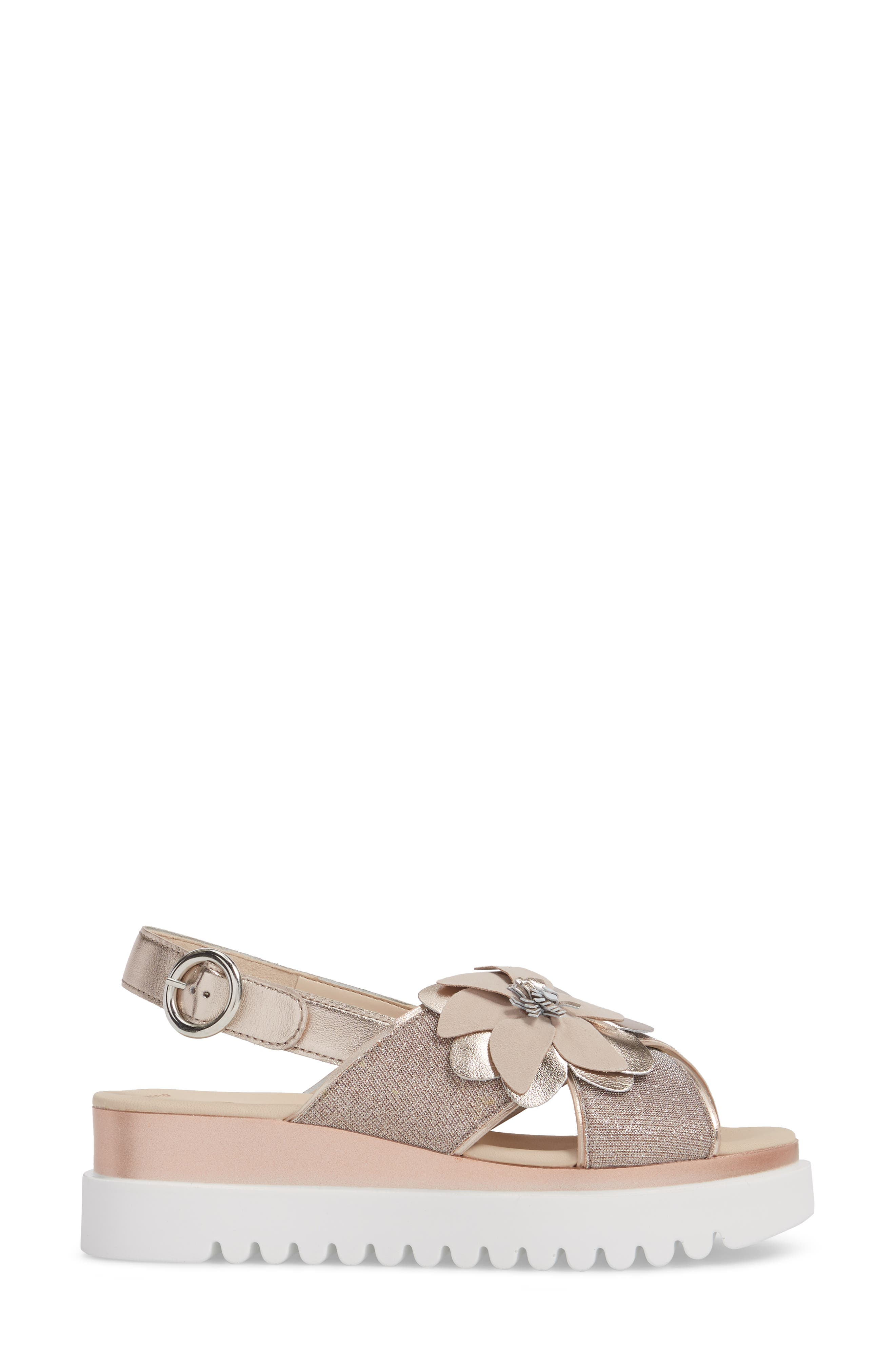 Flower Platform Sandal,                             Alternate thumbnail 3, color,                             Rose Metallic Fabric