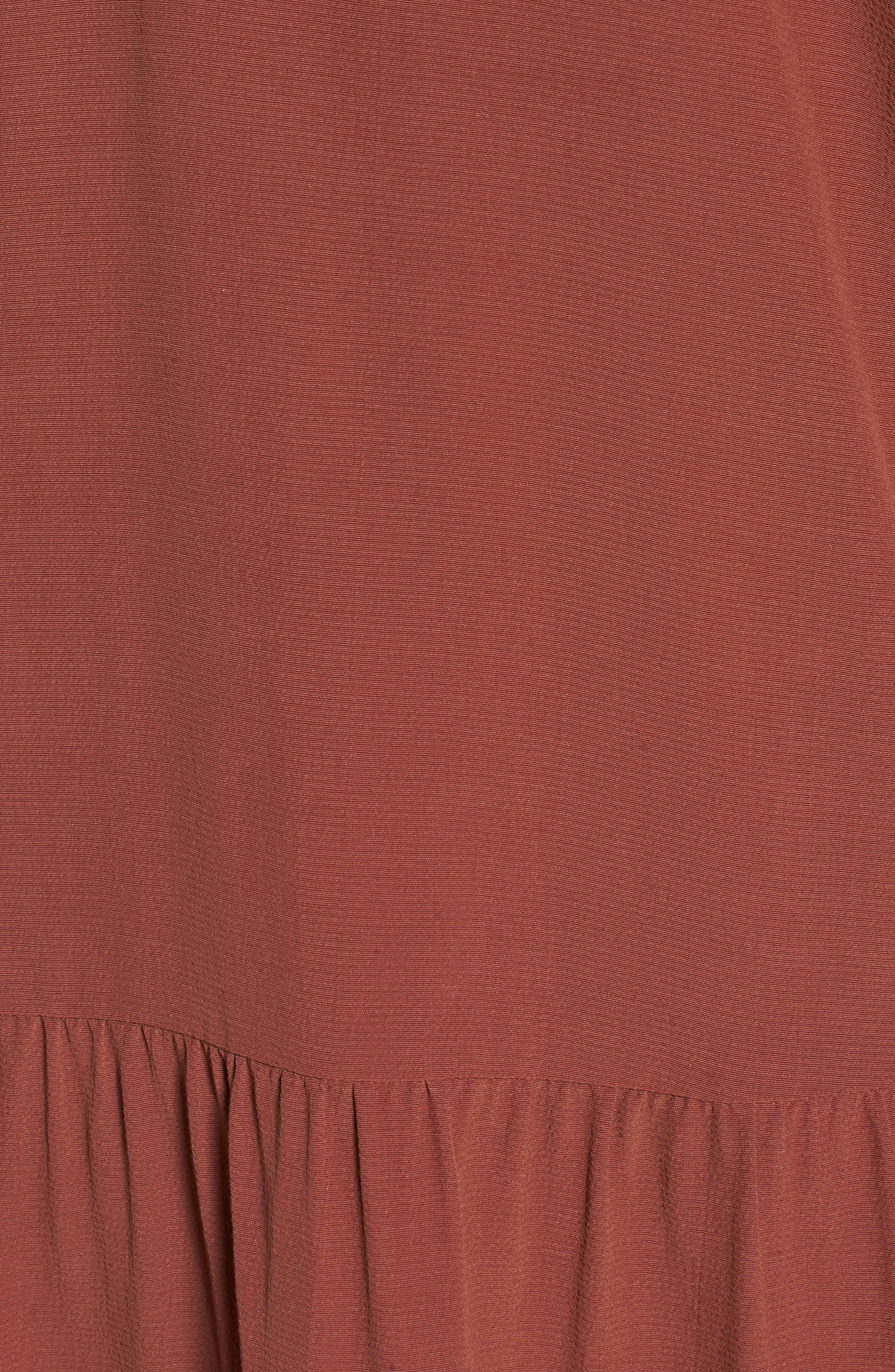 Drop Waist Tencel<sup>®</sup> Lyocell Blend Dress,                             Alternate thumbnail 6, color,                             Russet