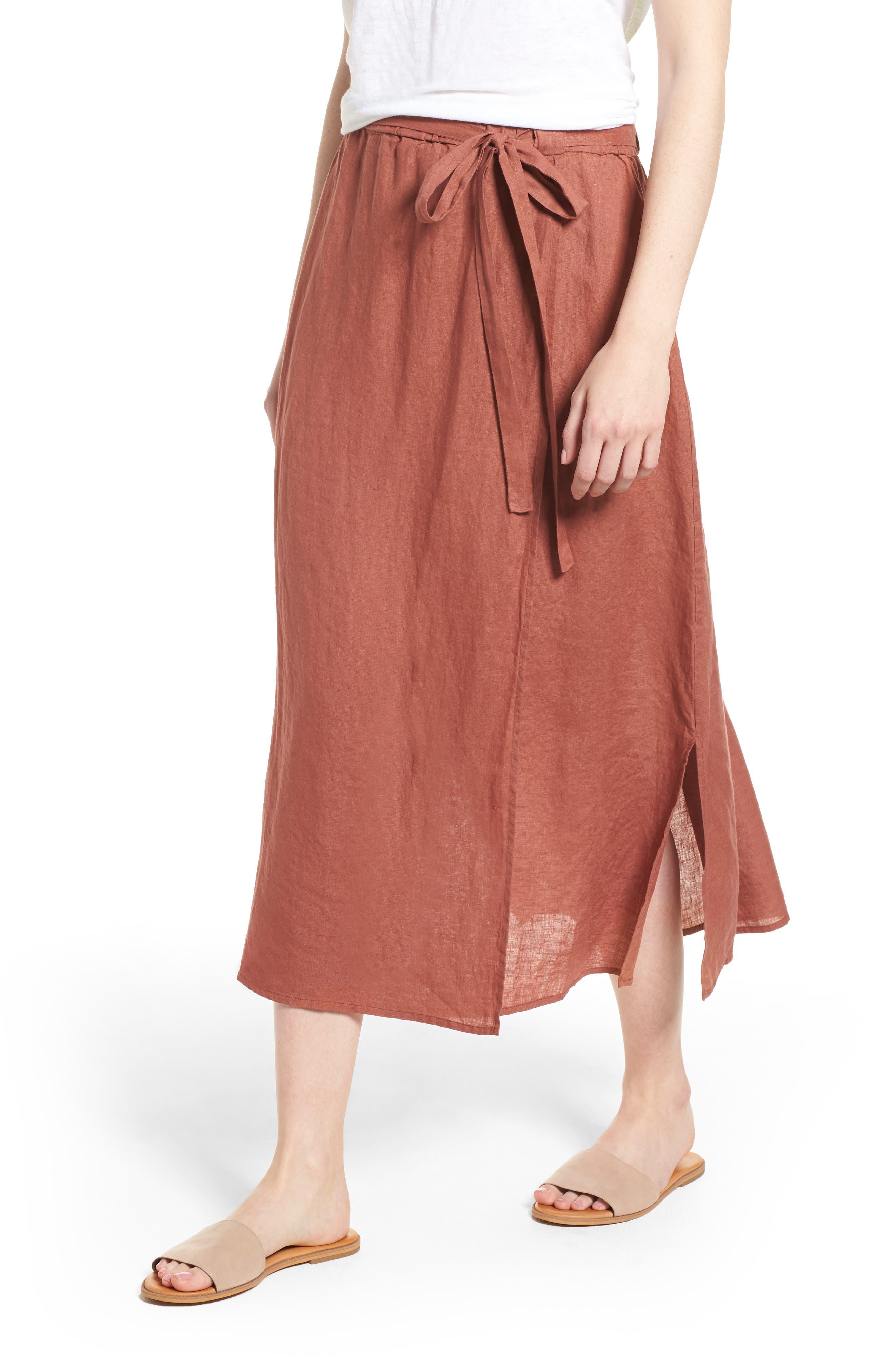 Eileen Fisher Faux Wrap Organic Linen Skirt (Regular & Petite)