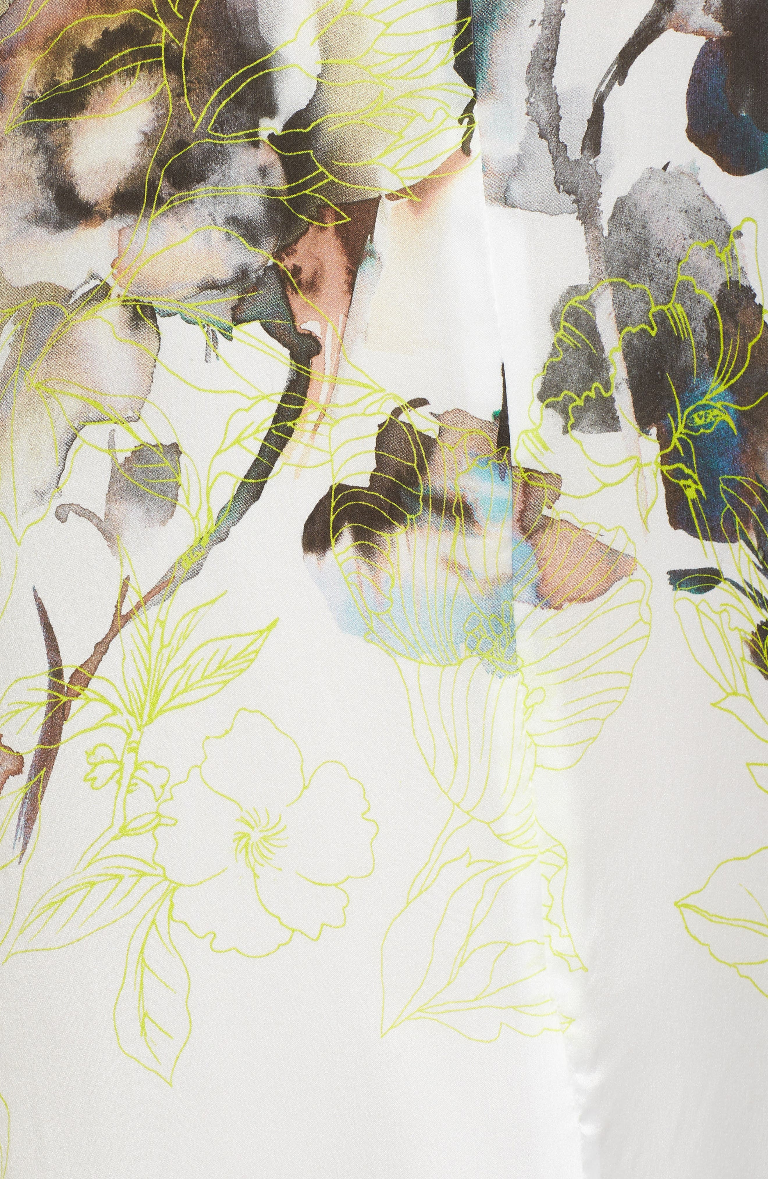 Silk Caftan,                             Alternate thumbnail 5, color,                             Limelight Print