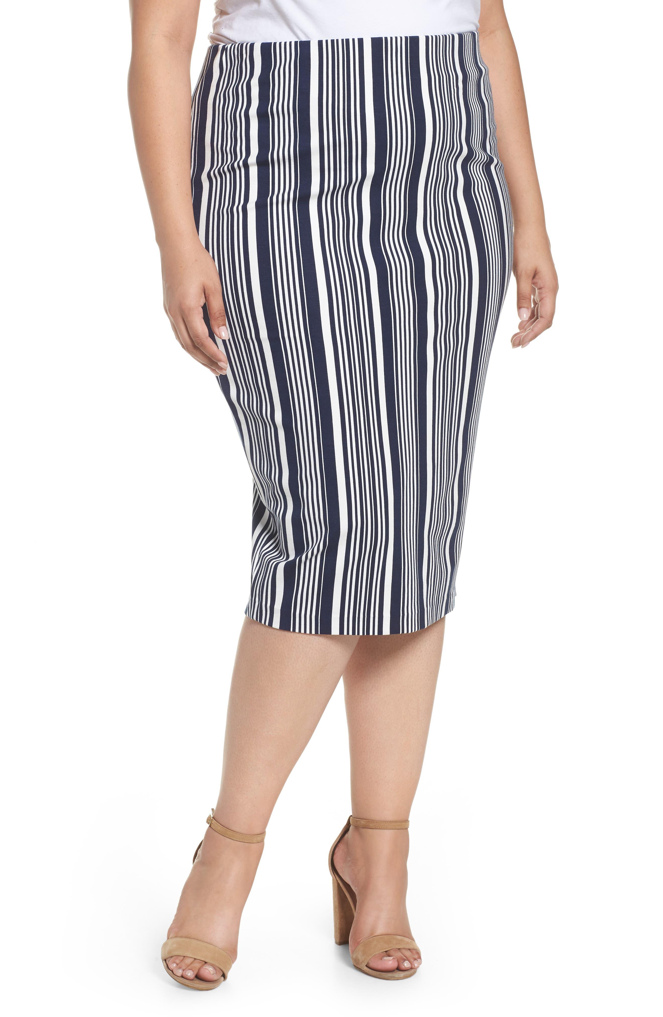 Stripe Ponte Pencil Skirt,                             Main thumbnail 1, color,                             Navy Alexis Stripe