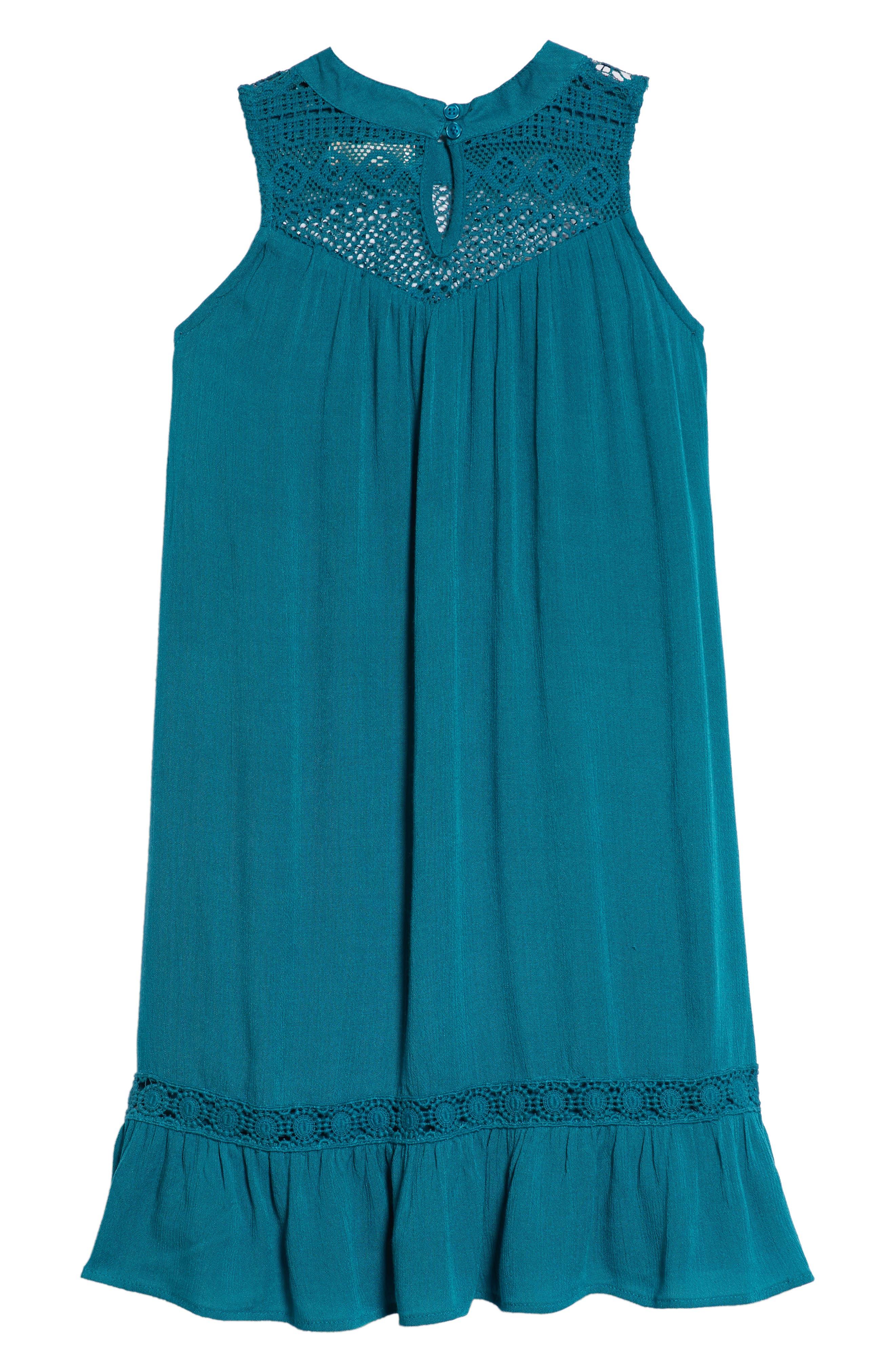 Lace Inset Ruffle Shift Dress,                             Alternate thumbnail 2, color,                             Teal