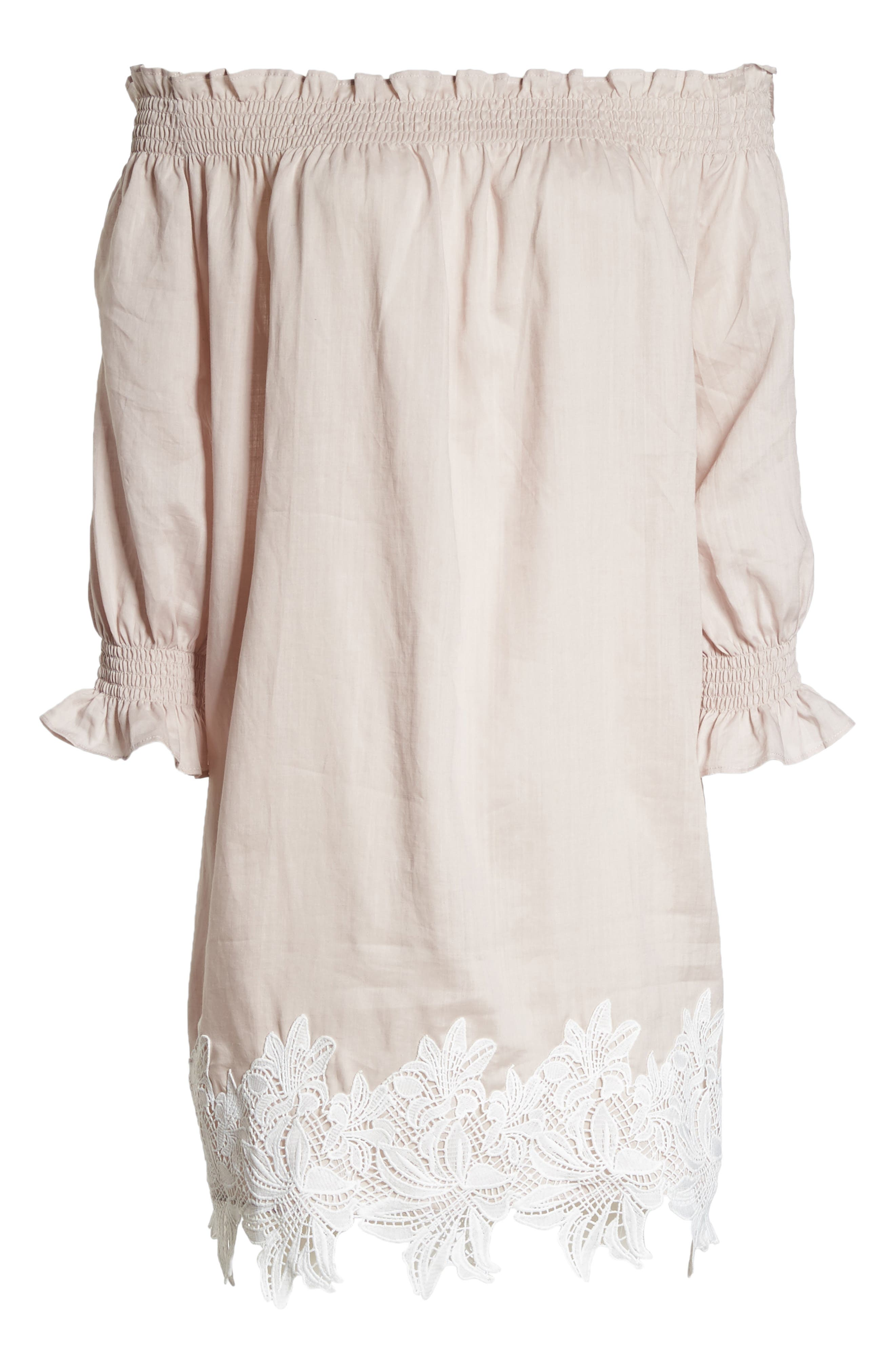 Hudson Off the Shoulder Lace Hem Linen Dress,                             Alternate thumbnail 8, color,                             Pink