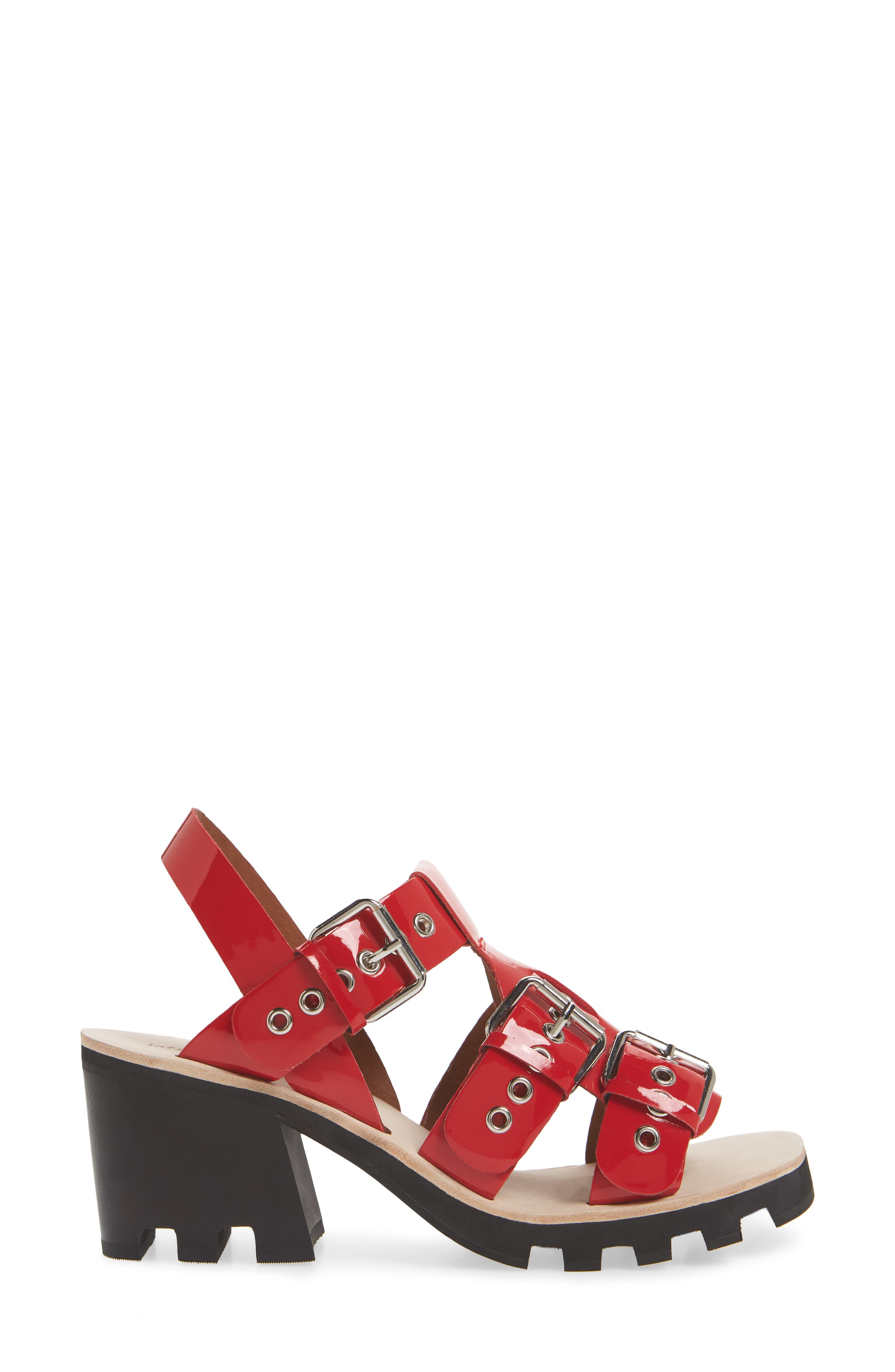 Riveter Lugged Buckle Sandal,                             Alternate thumbnail 3, color,                             Red Patent
