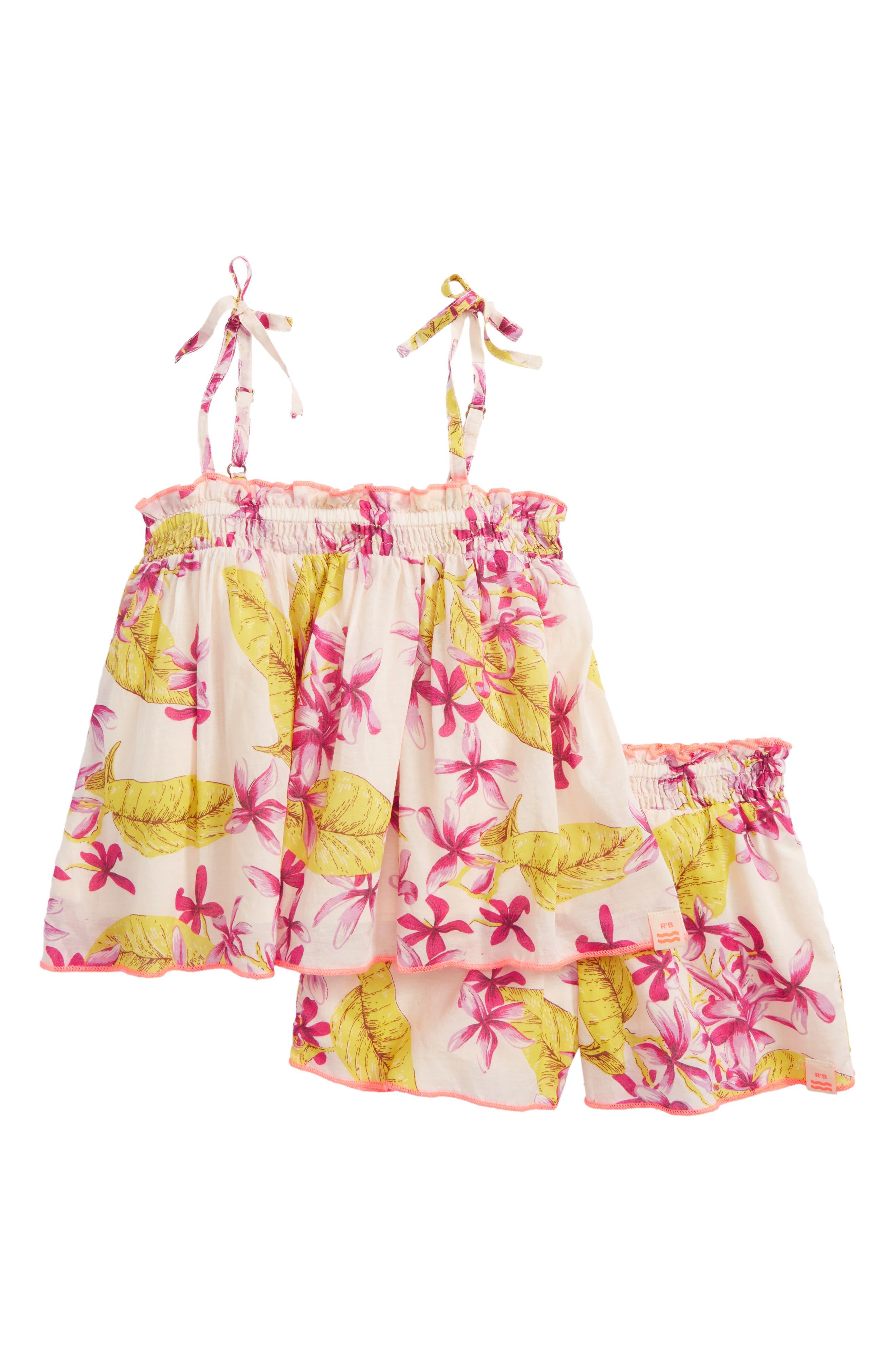 Scotch R'Belle Floral Trapeze Top & Shorts Set,                         Main,                         color, Pink Print
