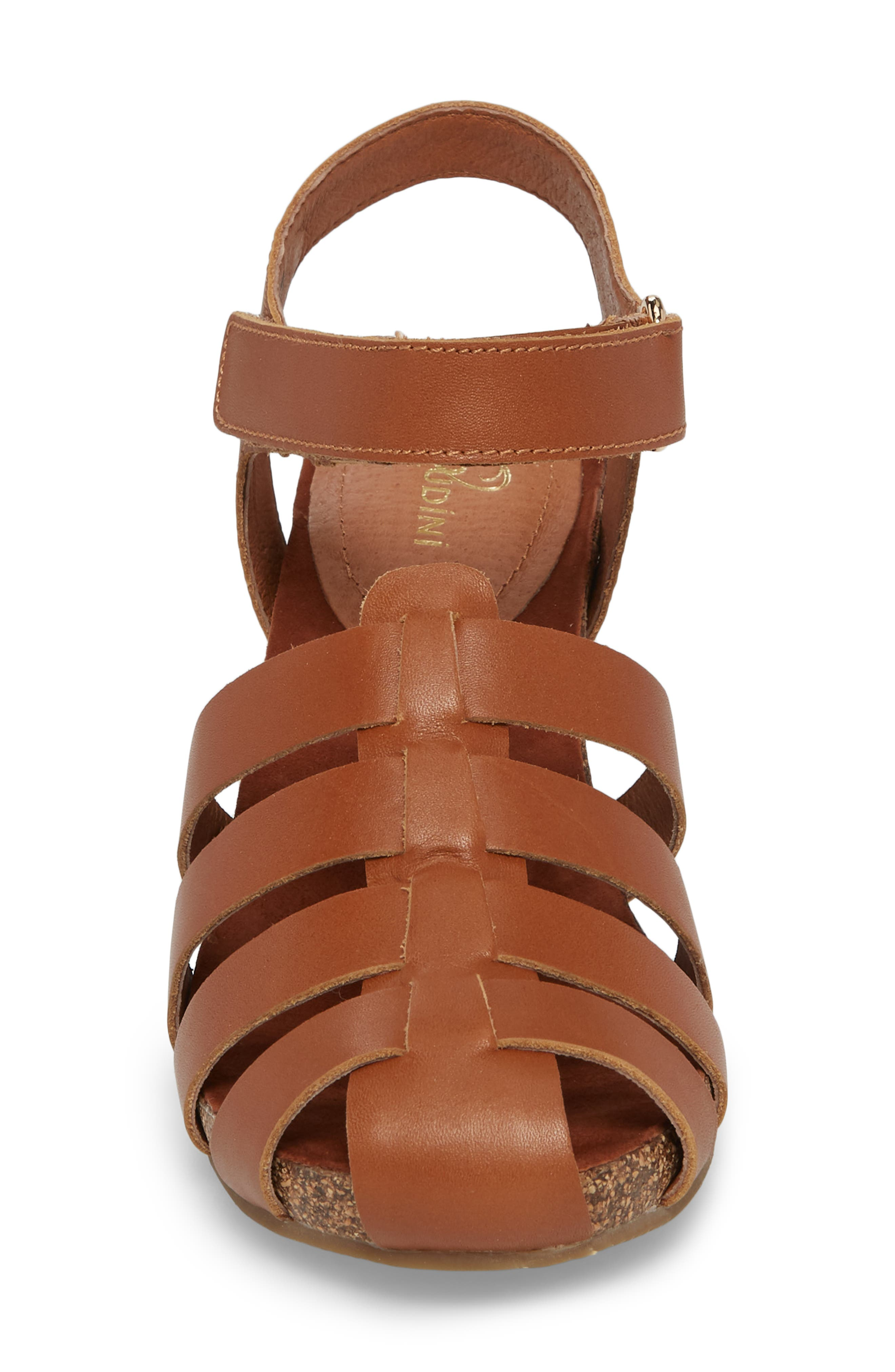 Carrara Block Heel Sandal,                             Alternate thumbnail 4, color,                             Cognac Leather