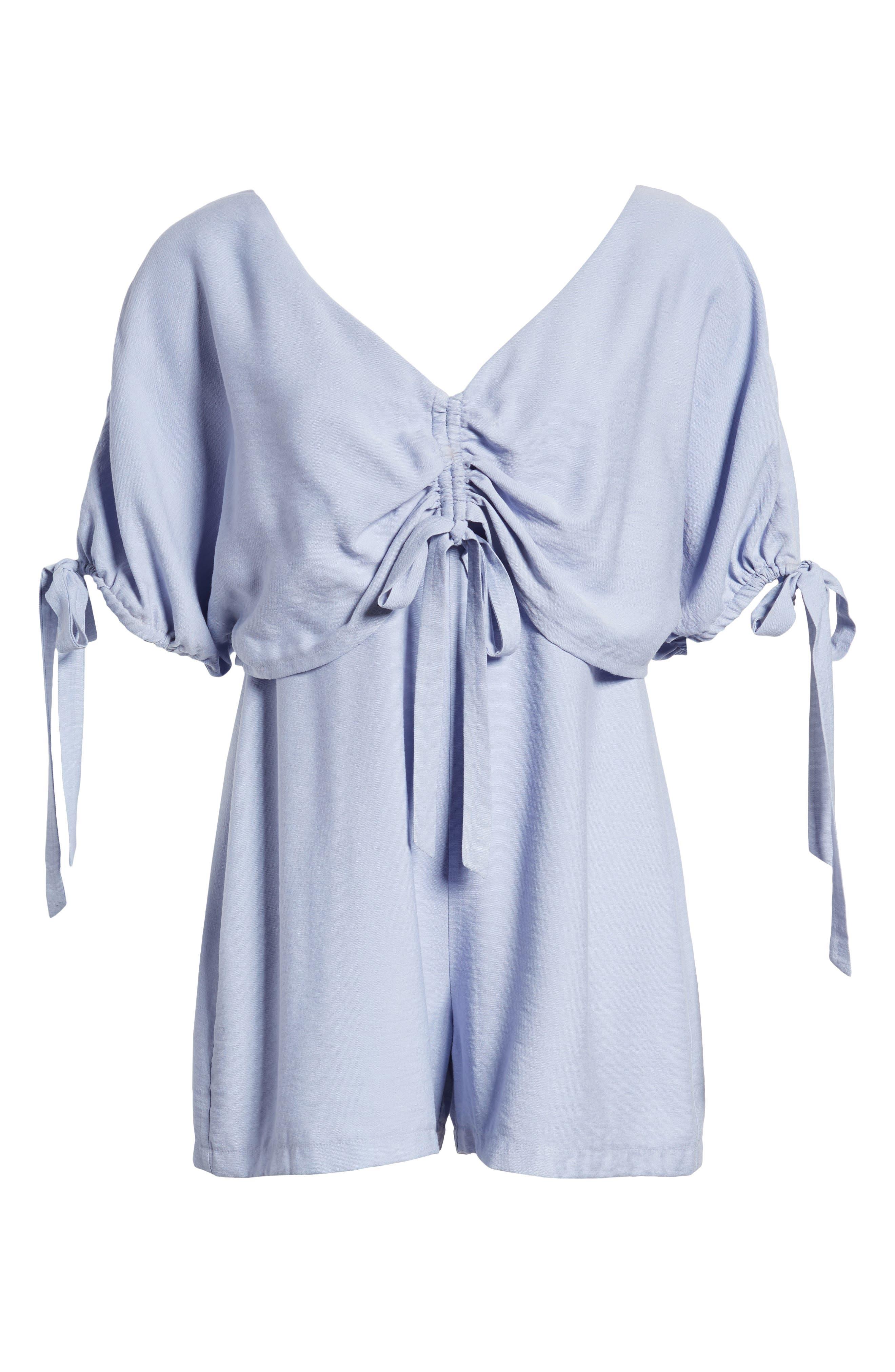 Tie Sleeve V-Neck Romper,                             Alternate thumbnail 8, color,                             Blue
