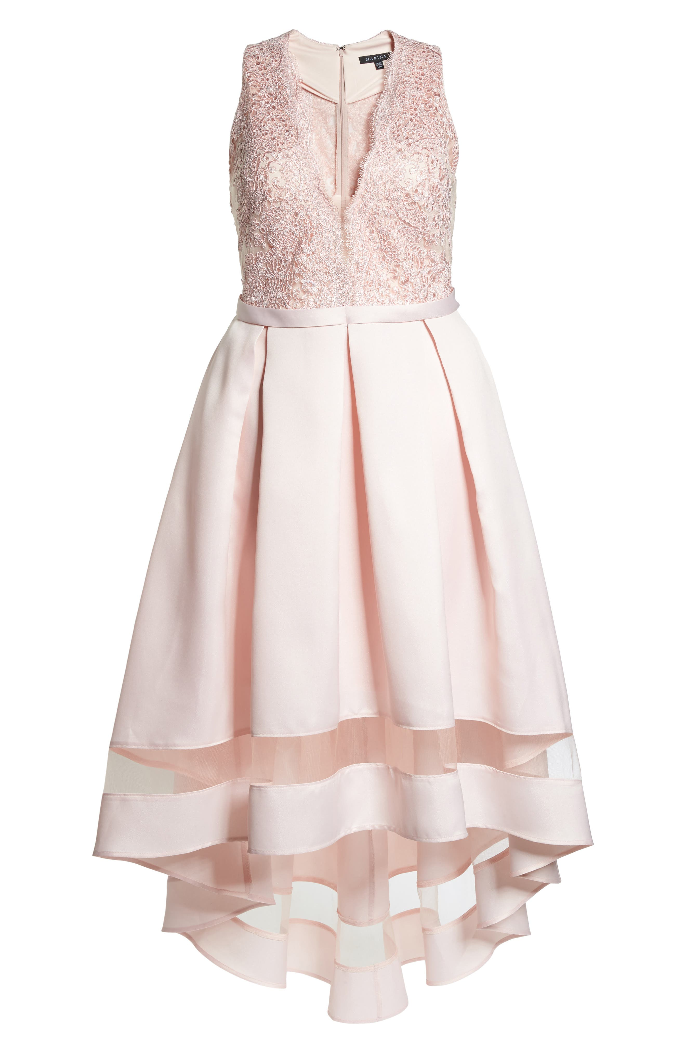 Alternate Image 6  - Marina Lace & Pleated High/Low Gown (Plus Size)
