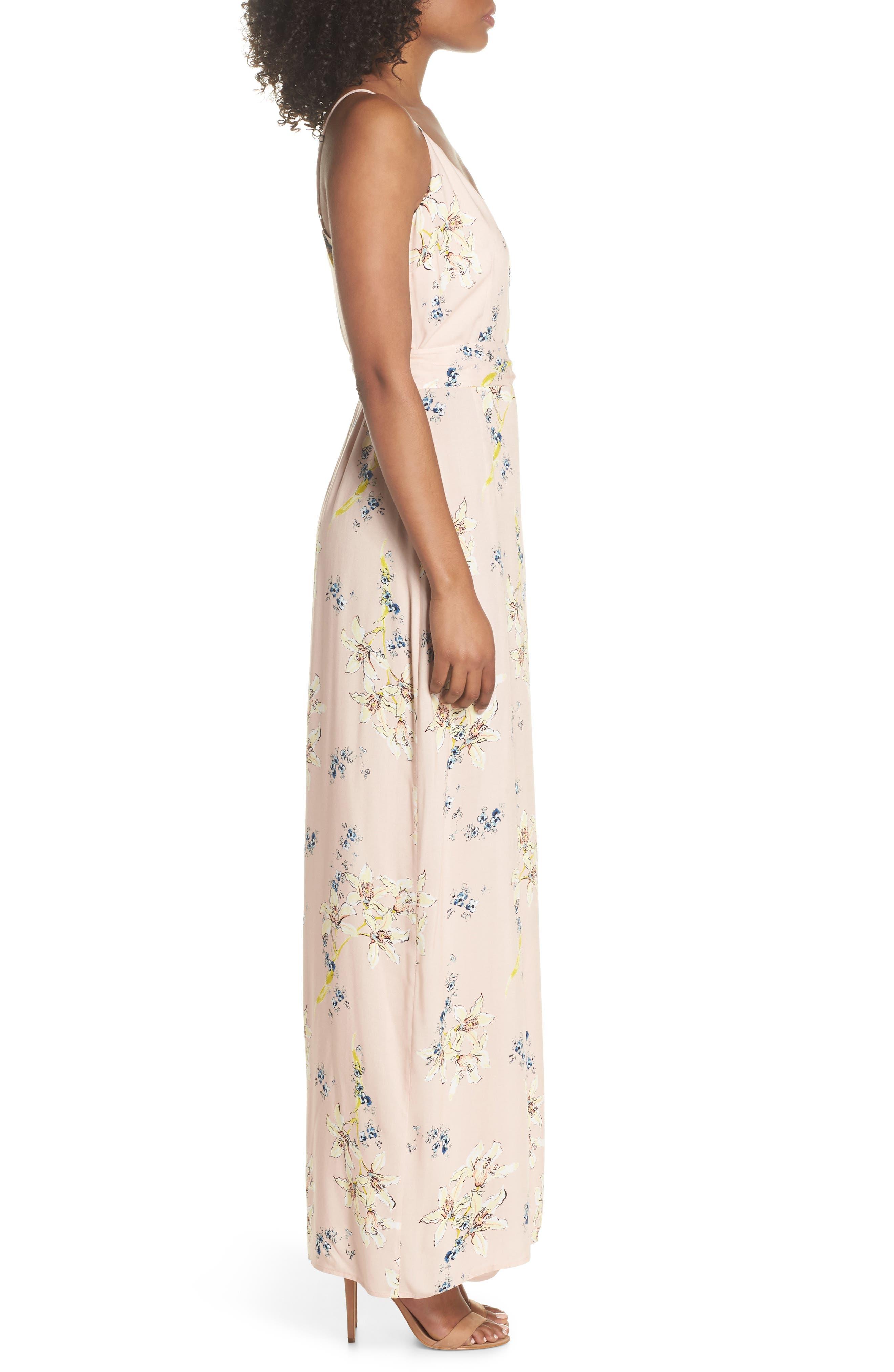 Regina Floral Print Maxi Dress,                             Alternate thumbnail 3, color,                             Tender Yellow Multi