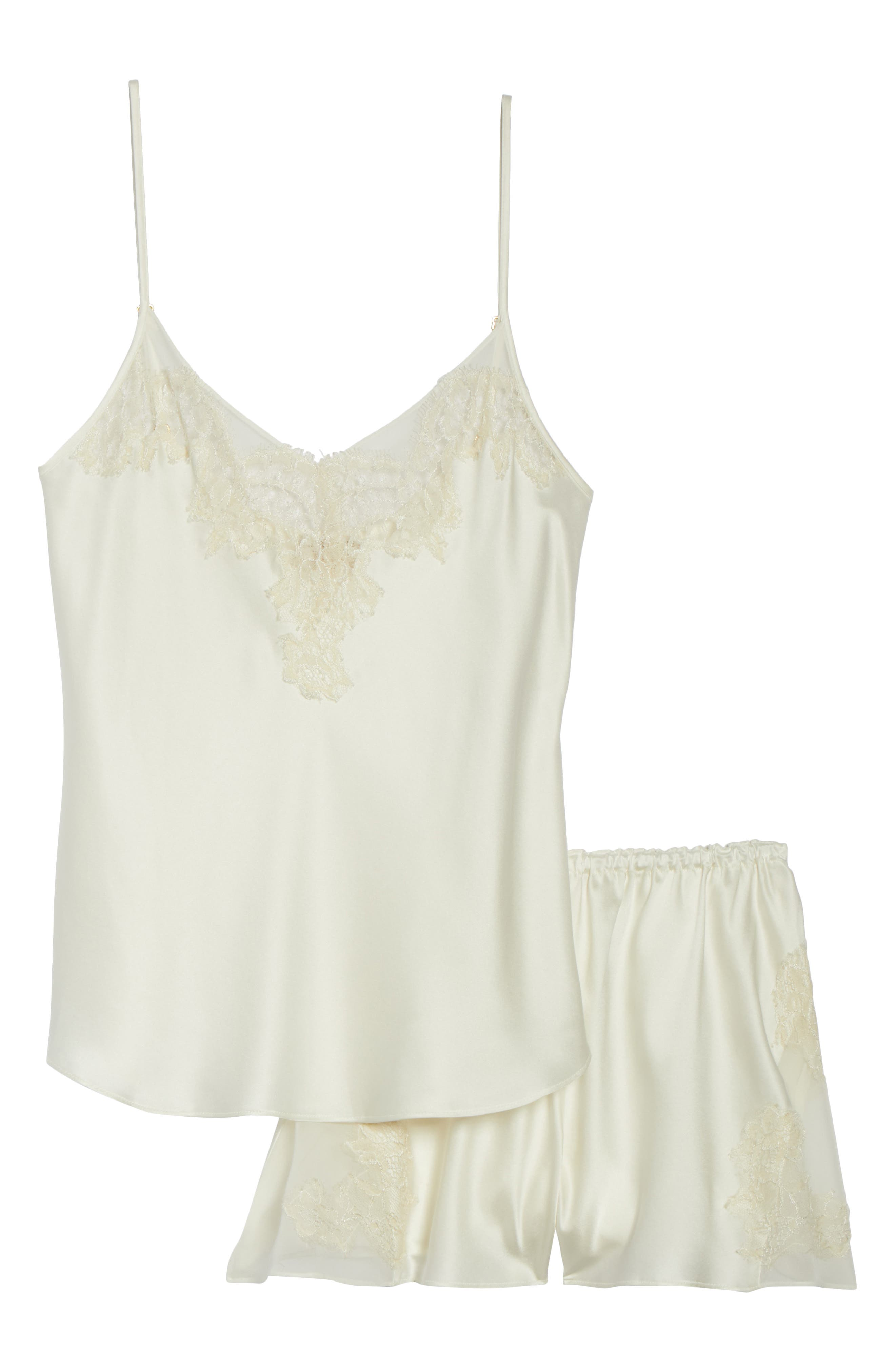 Lace Trim Short Silk Pajamas,                             Alternate thumbnail 4, color,                             Pearl / Champagne