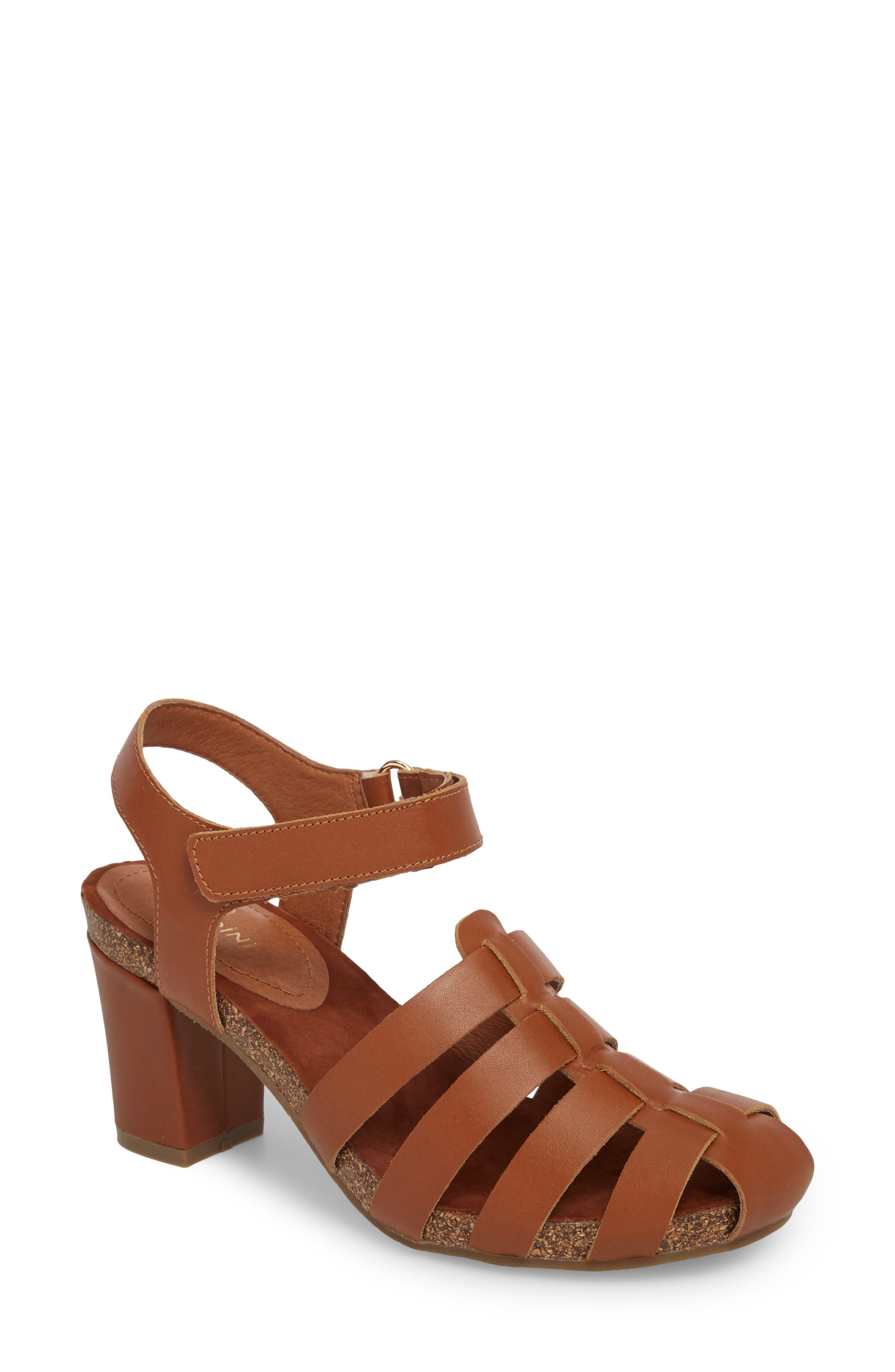 Carrara Block Heel Sandal,                             Main thumbnail 1, color,                             Cognac Leather
