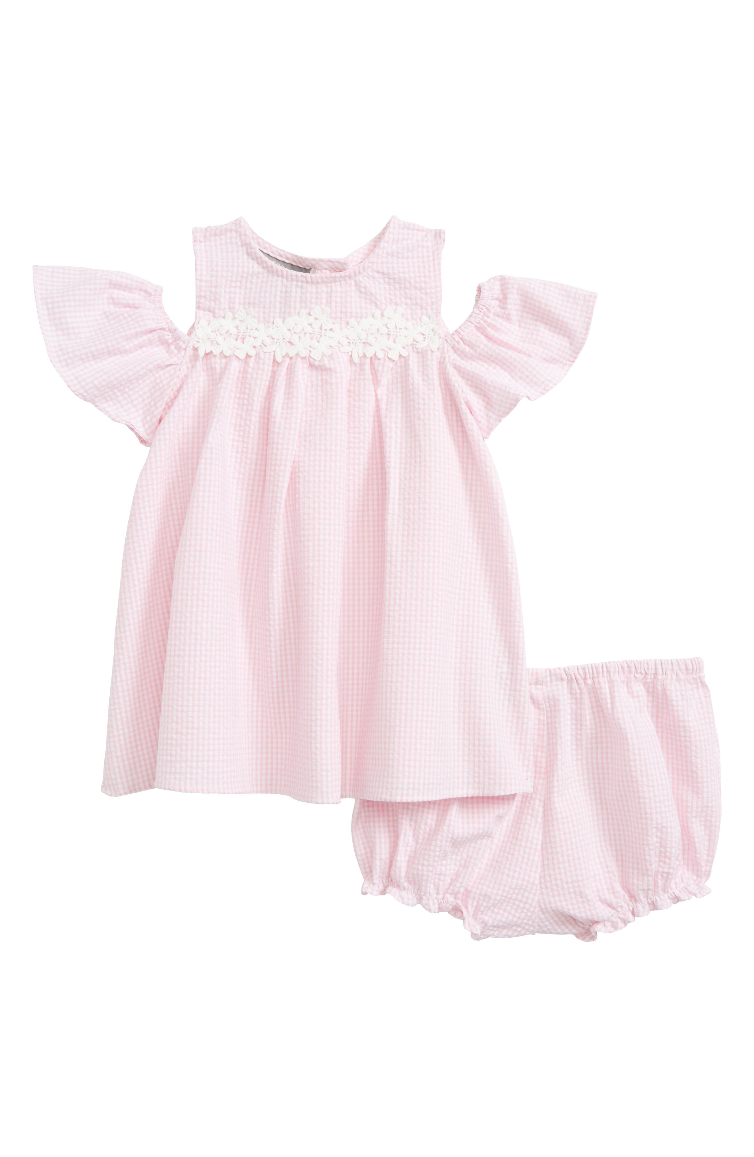 Seersucker Cold Shoulder Dress,                             Main thumbnail 1, color,                             Pink White