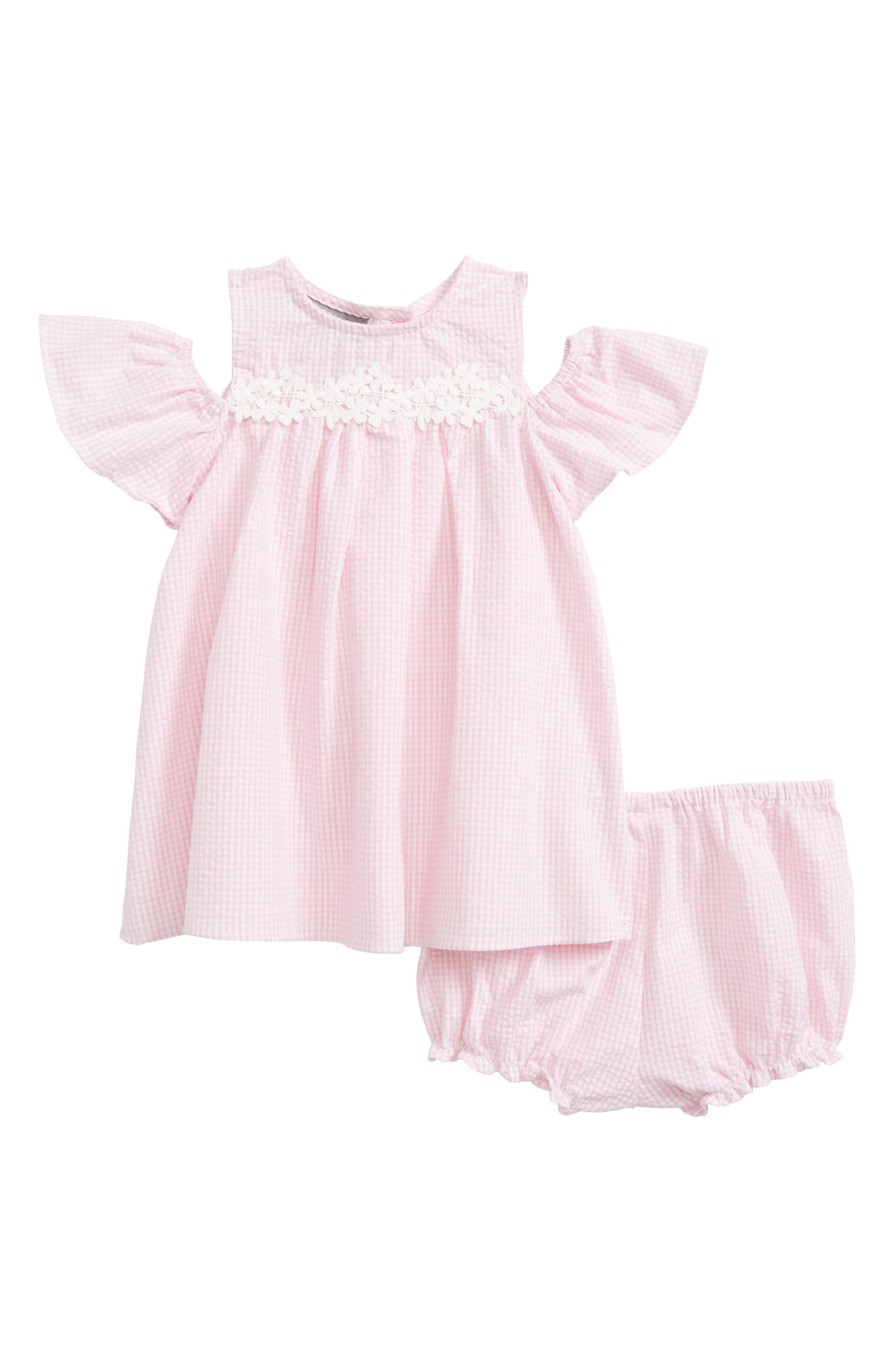 Seersucker Cold Shoulder Dress,                         Main,                         color, Pink White