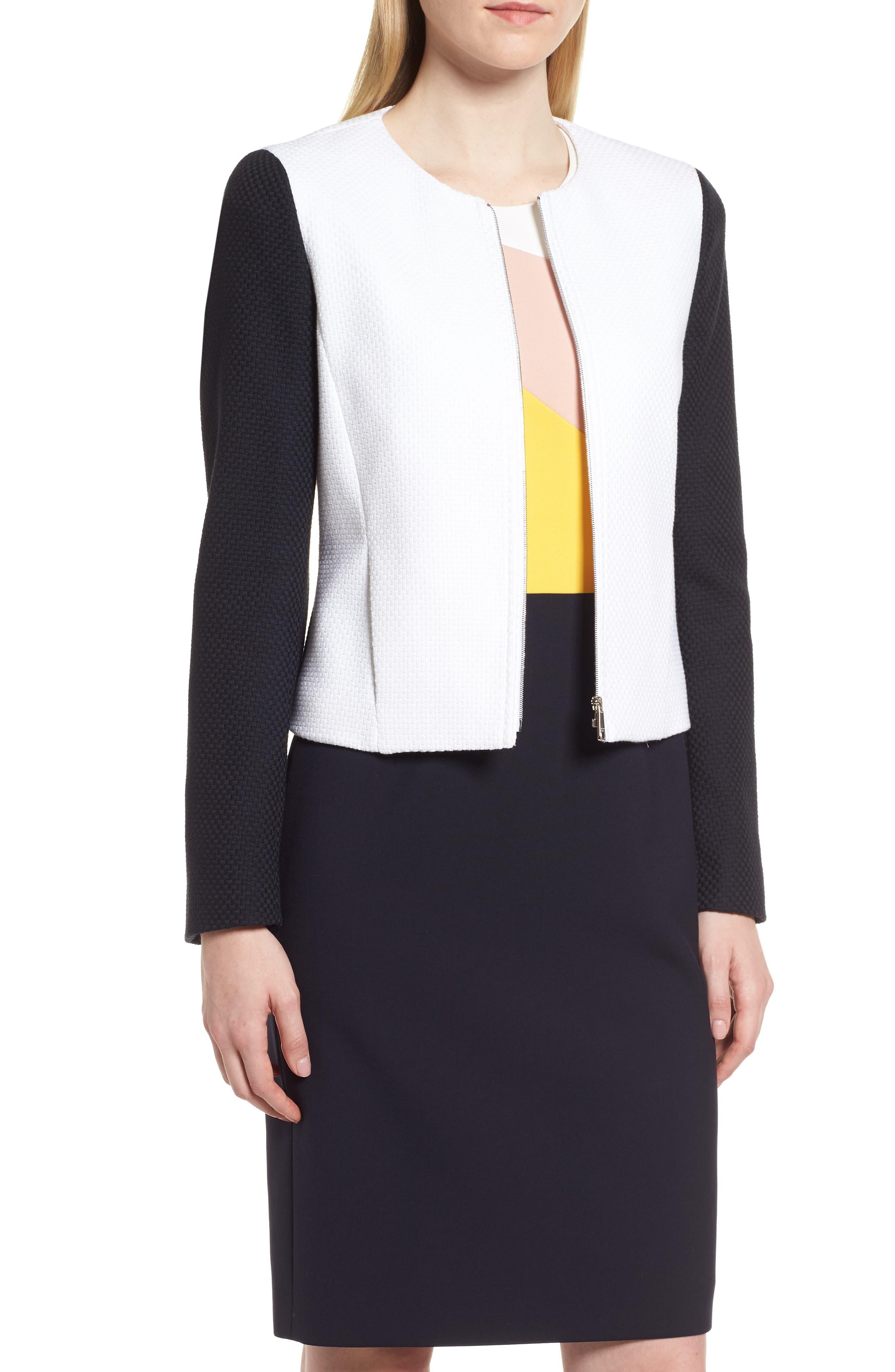 Main Image - BOSS Coralie Colorblock Jacket