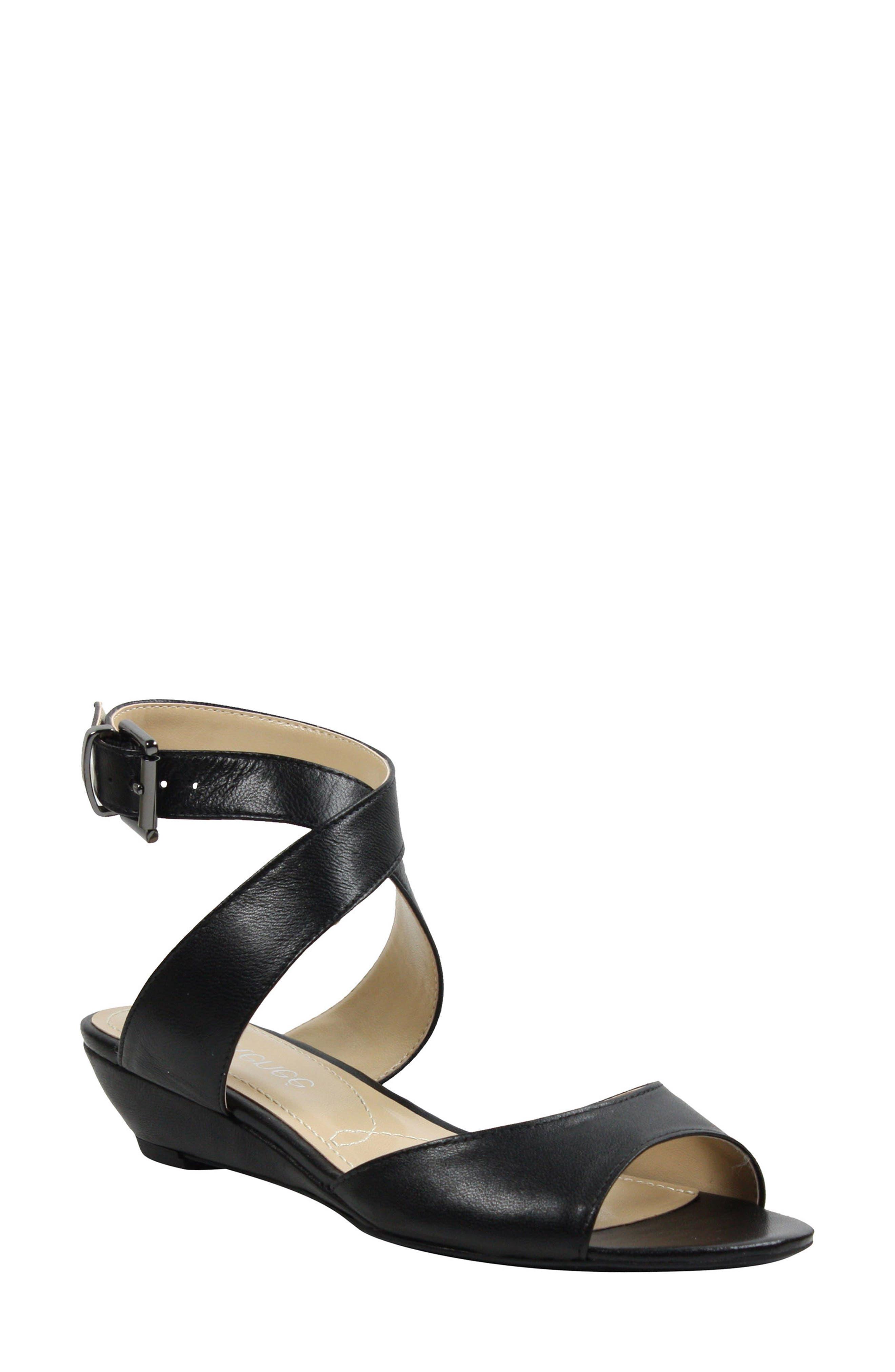 Belden Ankle Wrap Sandal,                             Main thumbnail 1, color,                             Black Leather