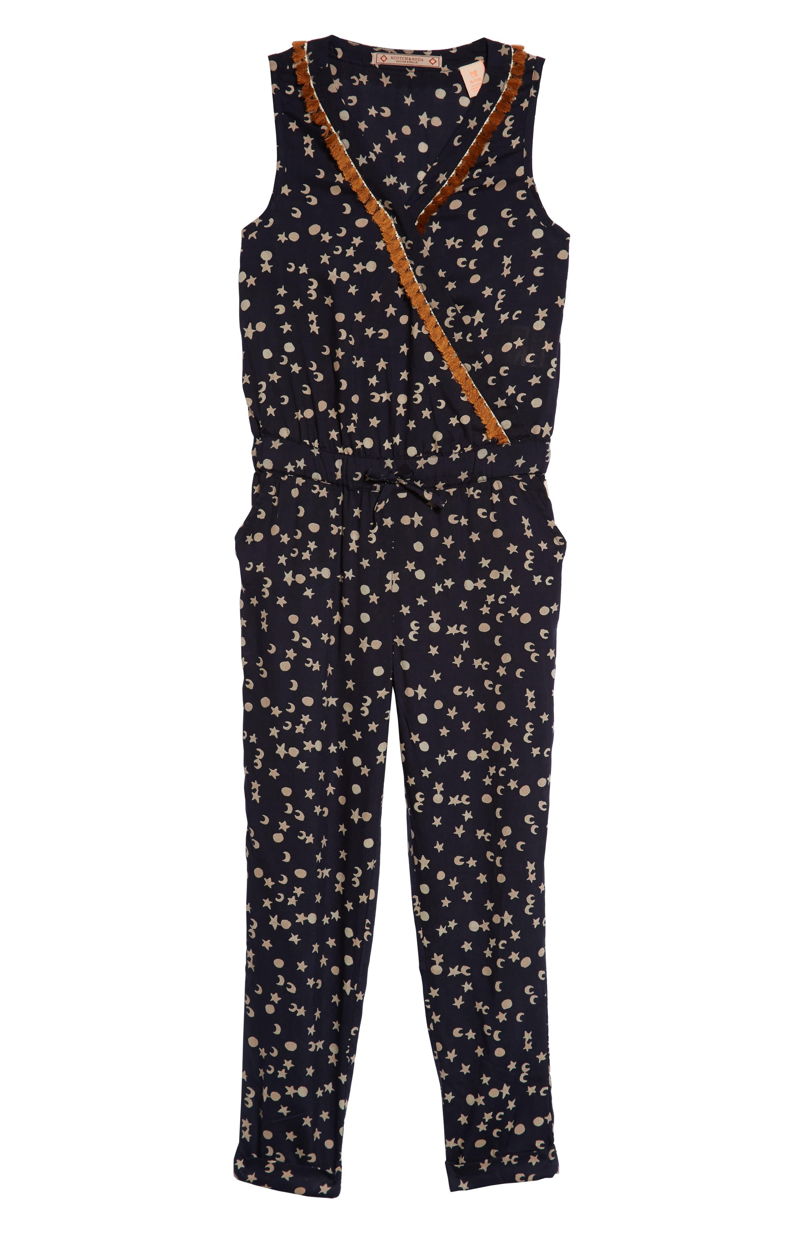 Scotch R'Belle Moon & Star Fringe Jumpsuit,                         Main,                         color, Navy Print