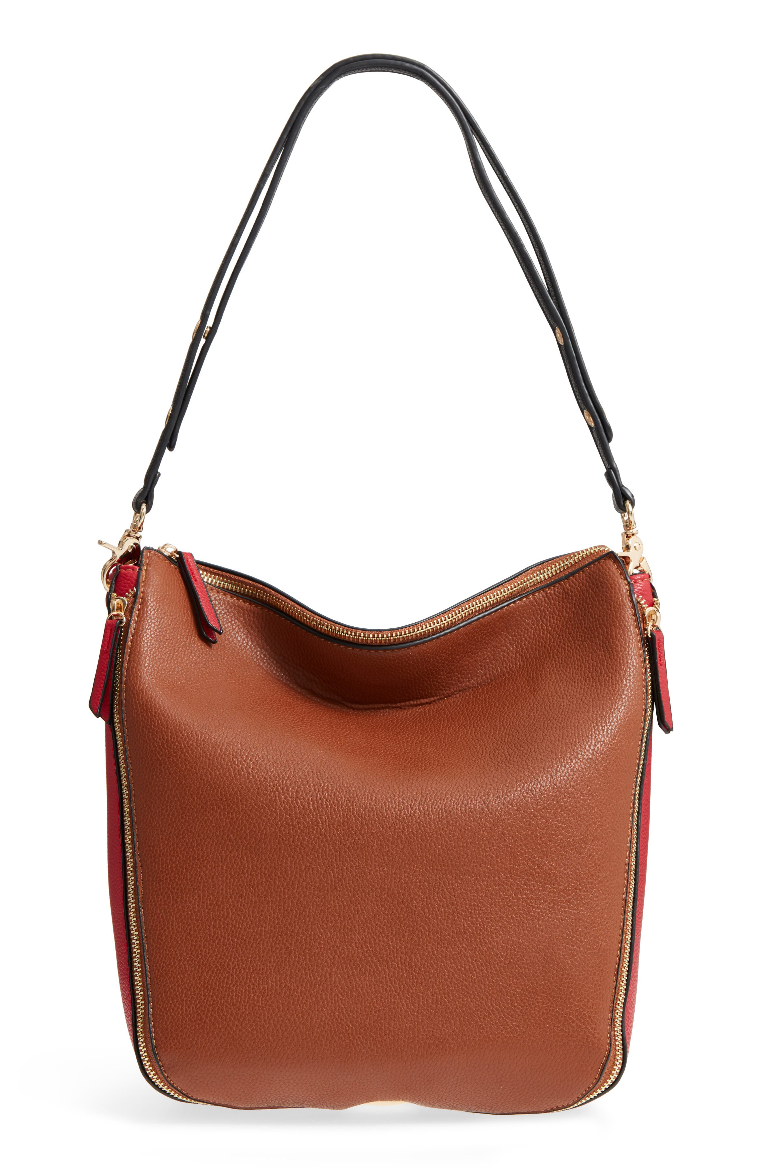 Colorblock Faux Leather Hobo,                             Main thumbnail 1, color,                             Cognac/ Red