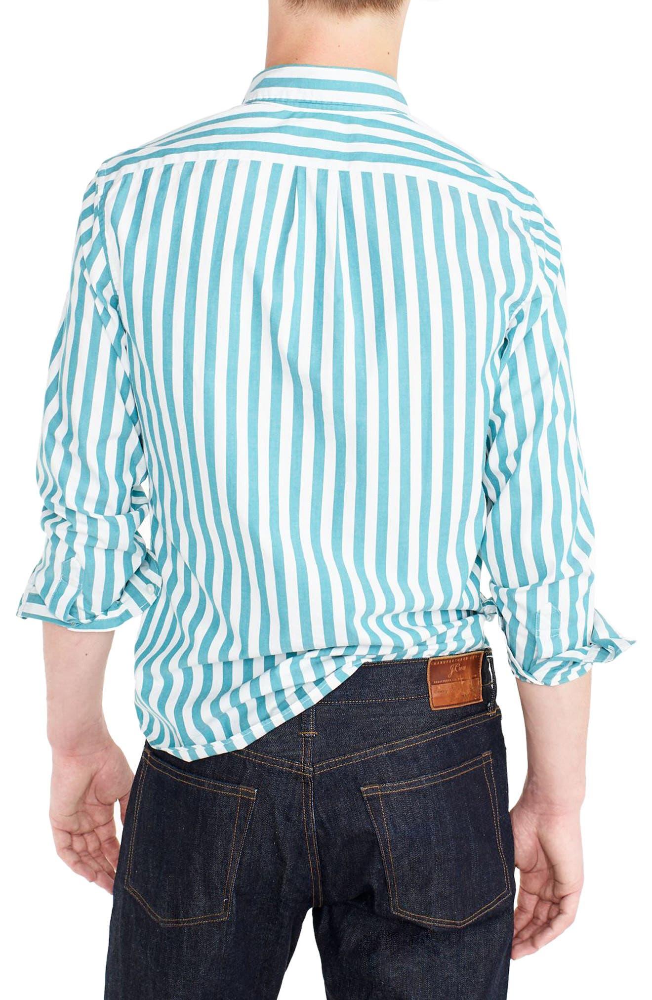 J.Crew Slim Fit Stretch Secret Wash Stripe Sport Shirt,                             Alternate thumbnail 2, color,                             Bright Turquoise