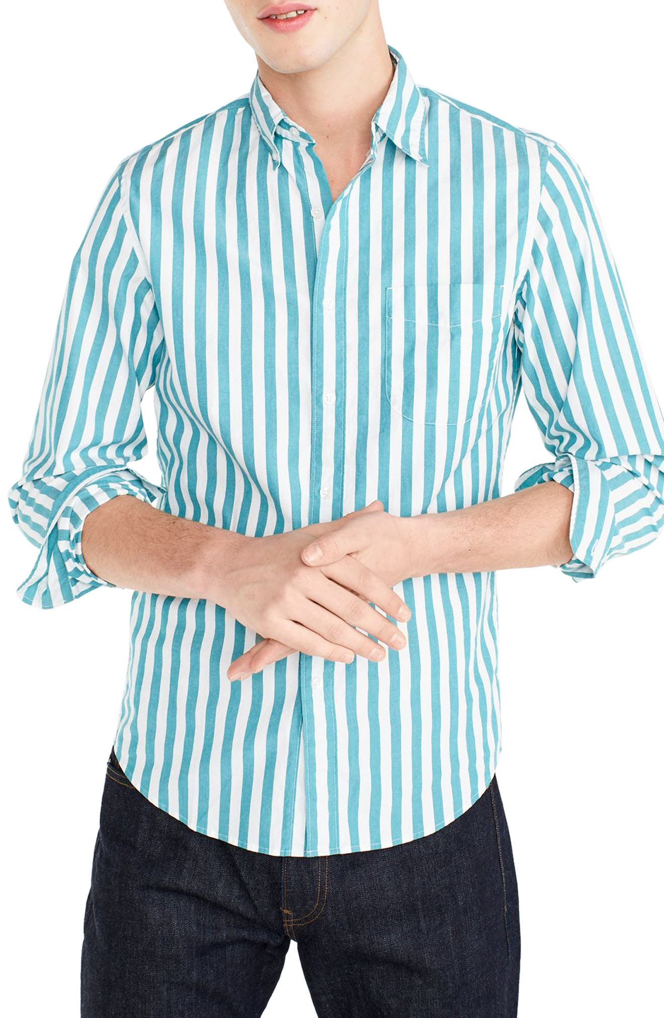 J.Crew Slim Fit Stretch Secret Wash Stripe Sport Shirt,                             Main thumbnail 1, color,                             Bright Turquoise