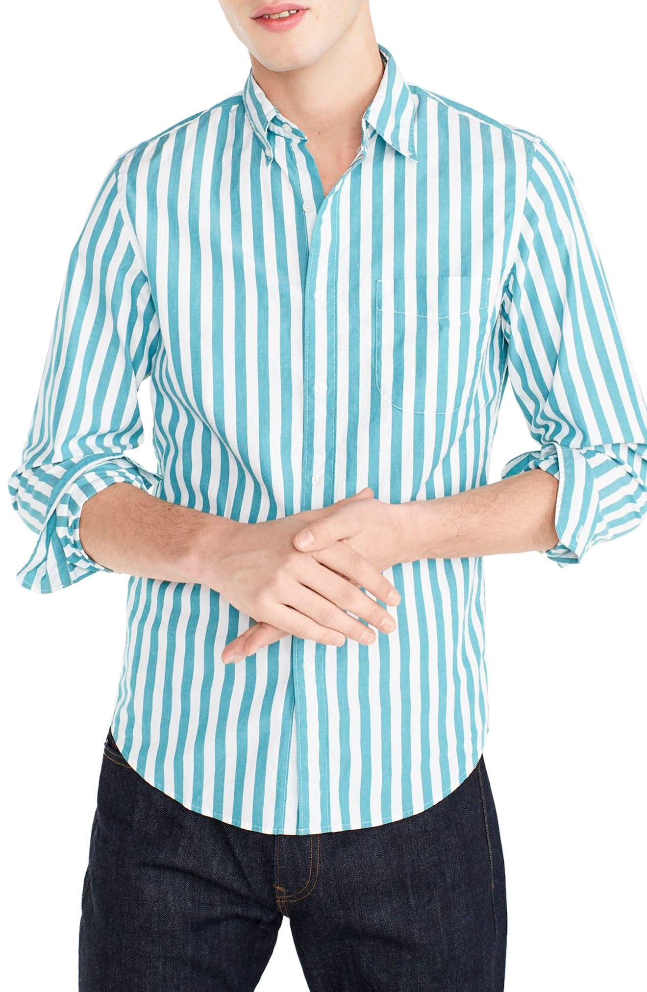 J.Crew Slim Fit Stretch Secret Wash Stripe Sport Shirt,                         Main,                         color, Bright Turquoise