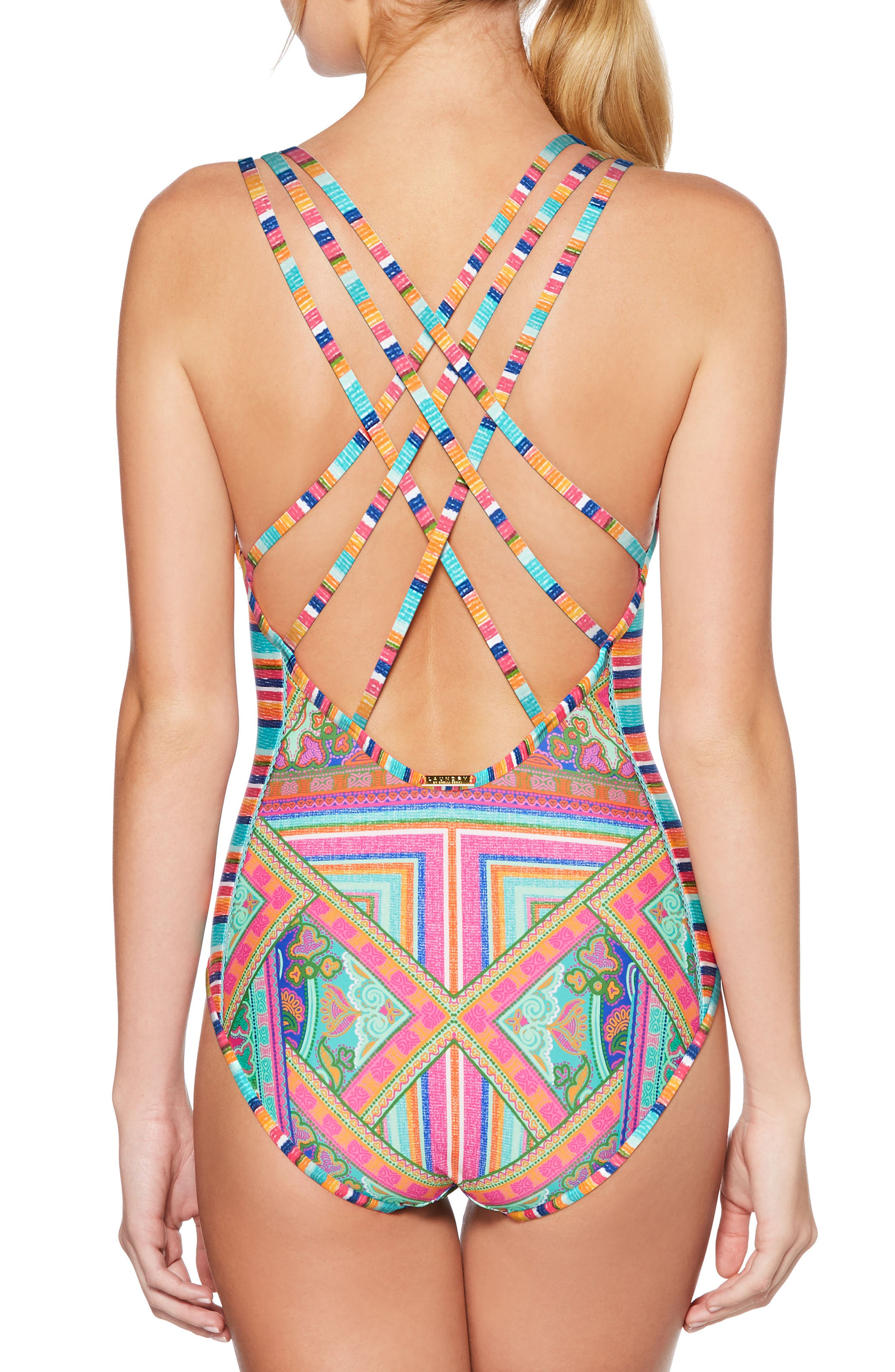 Scarf Medallion One-Piece Swimsuit,                             Alternate thumbnail 2, color,                             Blue/ Gren Multi