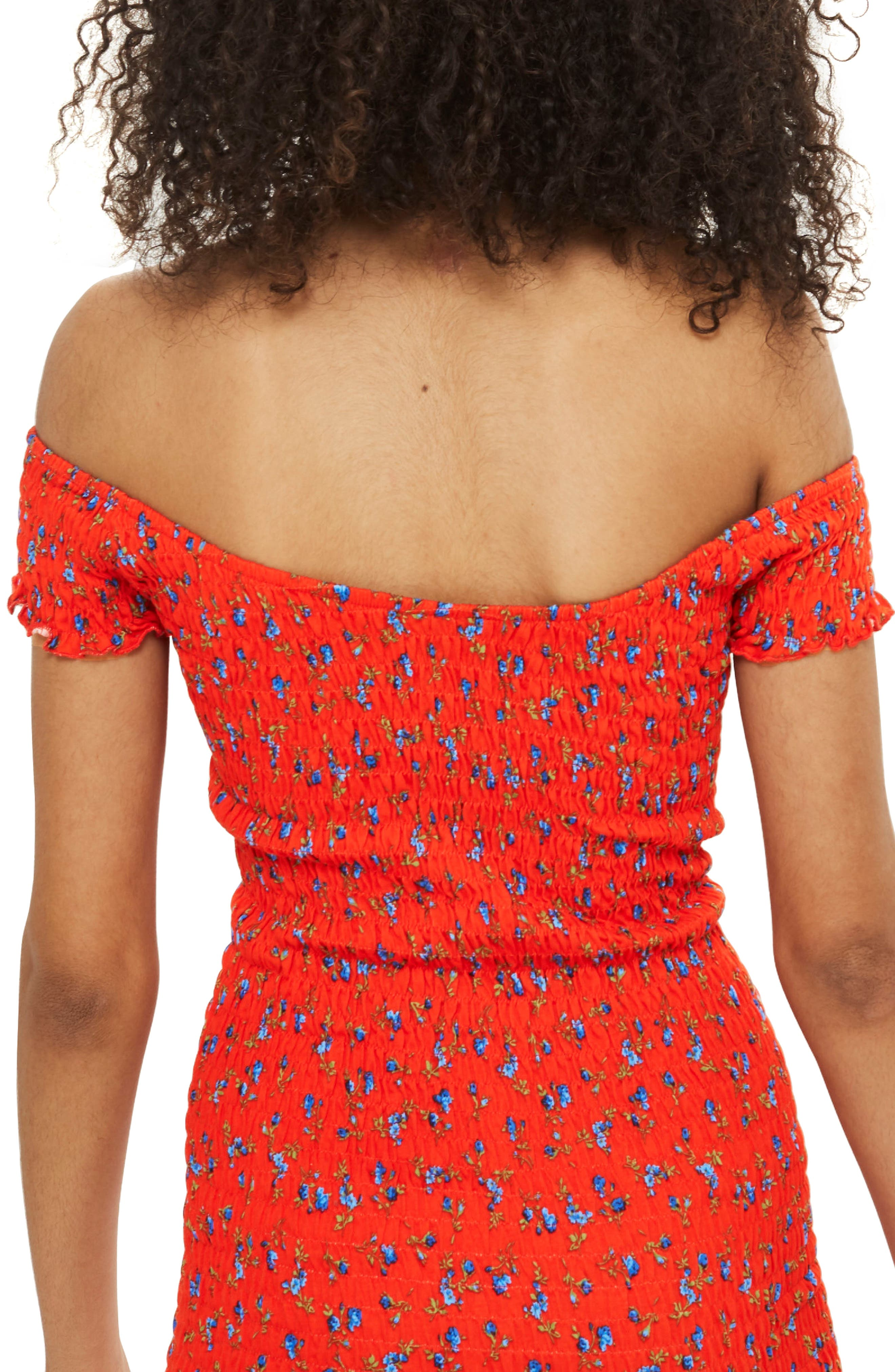 Smocked Ditsy Body-Con Dress,                             Alternate thumbnail 2, color,                             Red Multi
