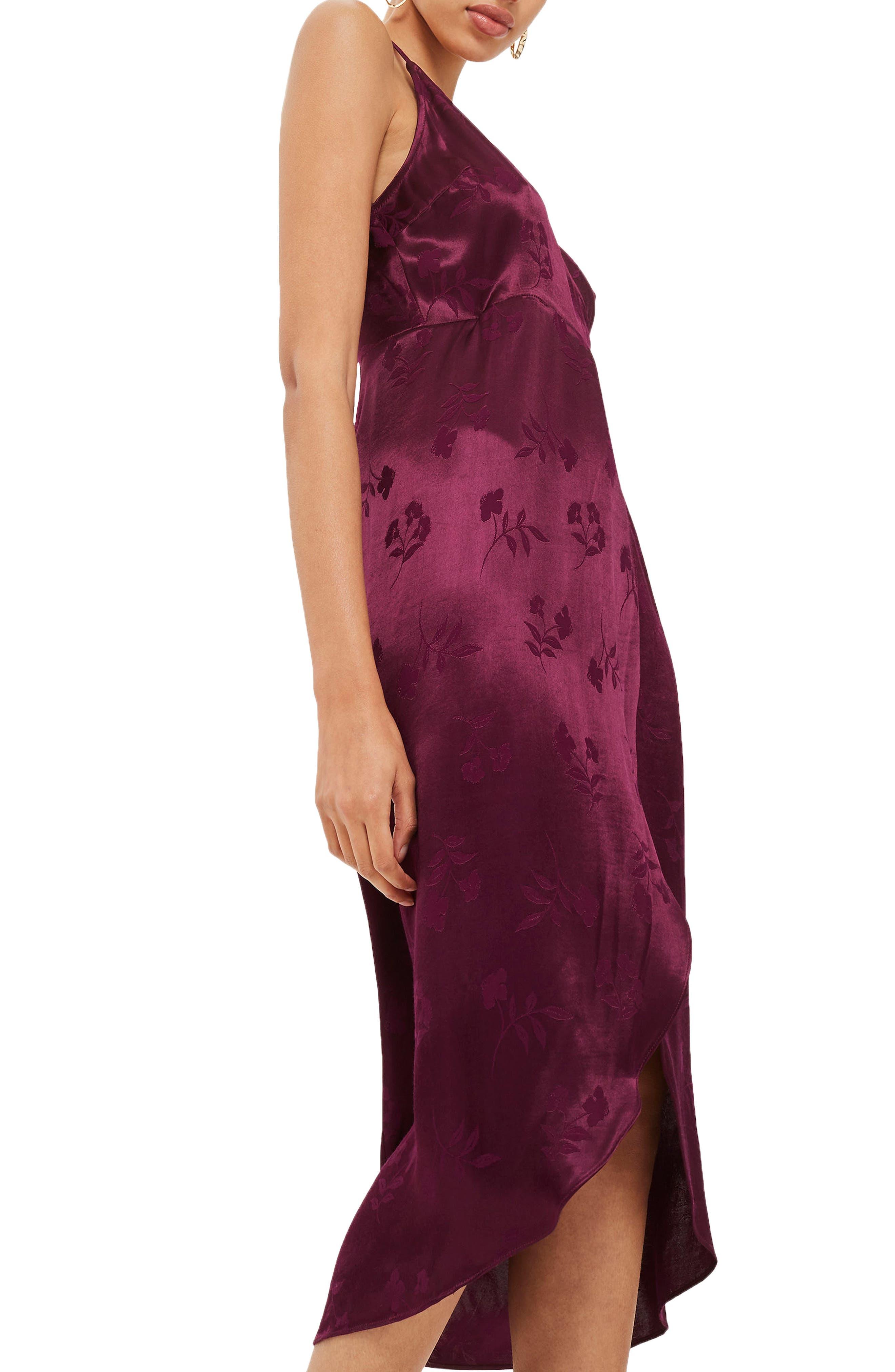 Jacquard Plunge Neck Wrap Dress,                             Alternate thumbnail 4, color,                             Burgundy